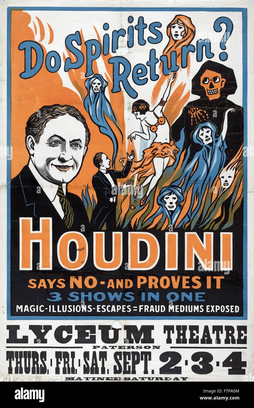 Retour les esprits? Houdini dit non - et il s'avère 3 montre en un seul: la magie, illusions, s'échappe, la fraude Banque D'Images