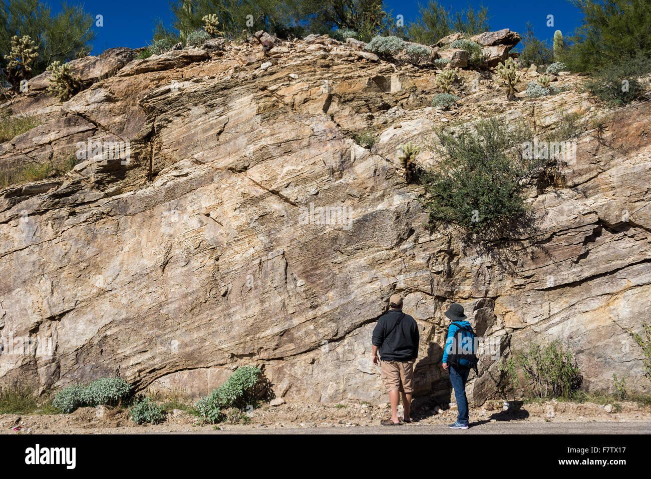 Étude des géologues d'affleurements rocheux du mont Lemmon, Tucson, Arizona, USA. Photo Stock