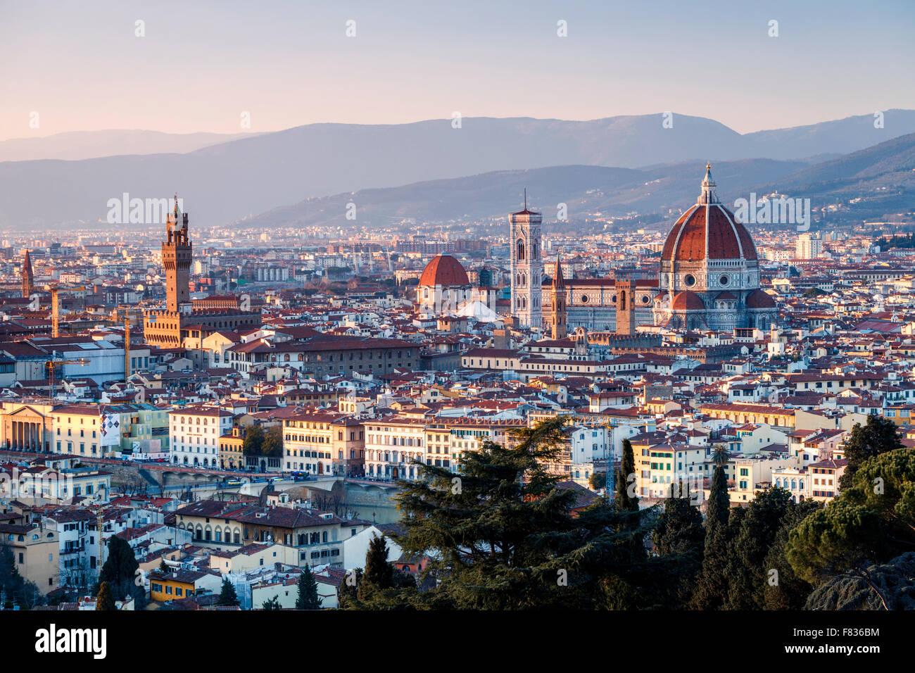 Au coucher du soleil Vue de Florence, Toscane, Italie Photo Stock