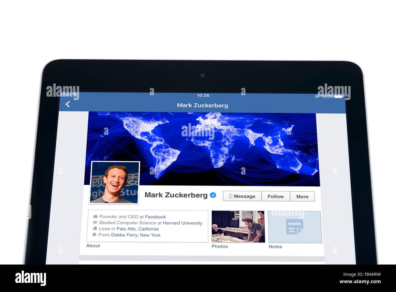 Le site web de Mark Zuckerberg sur l'application Facebook, vue sur un iPad Air Photo Stock