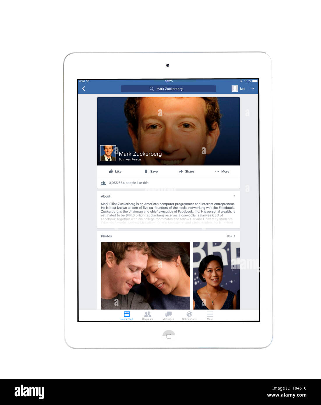 Mark Zuckerberg's home page sur l'application Facebook, vue sur un iPad Air Photo Stock
