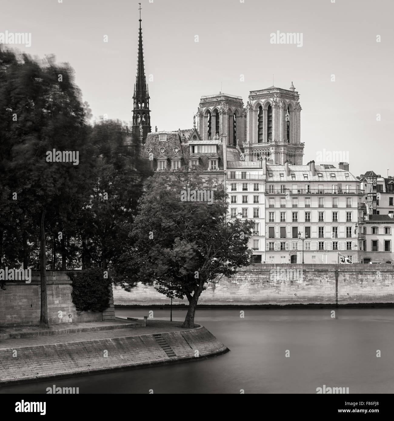Pointe de l'Ile Saint Louis et les tours et flèche de la Cathédrale Notre Dame de Paris (Ile de la Photo Stock