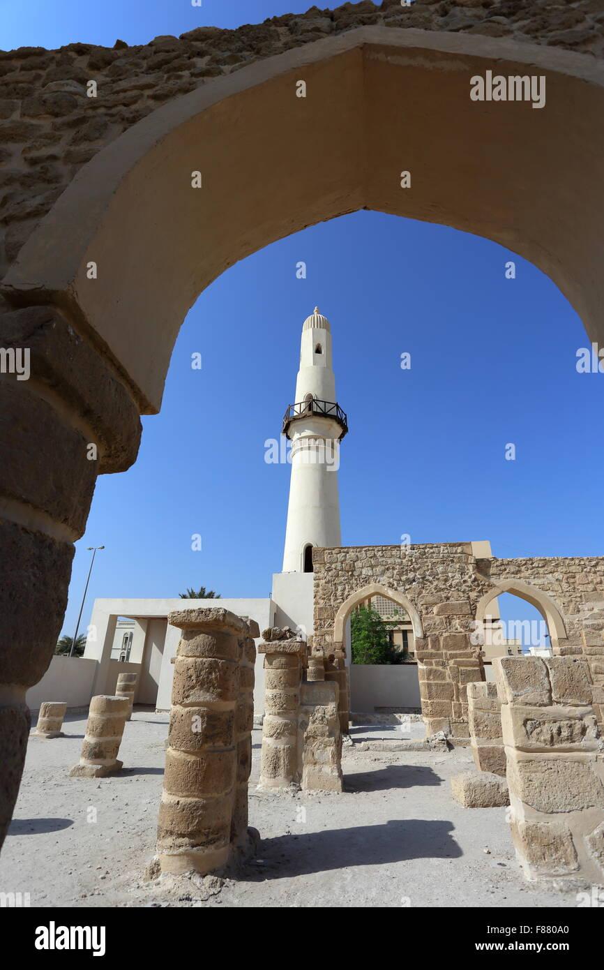 Al Khamis Mosquée, la plus ancienne mosquée du Royaume de Bahreïn Photo Stock