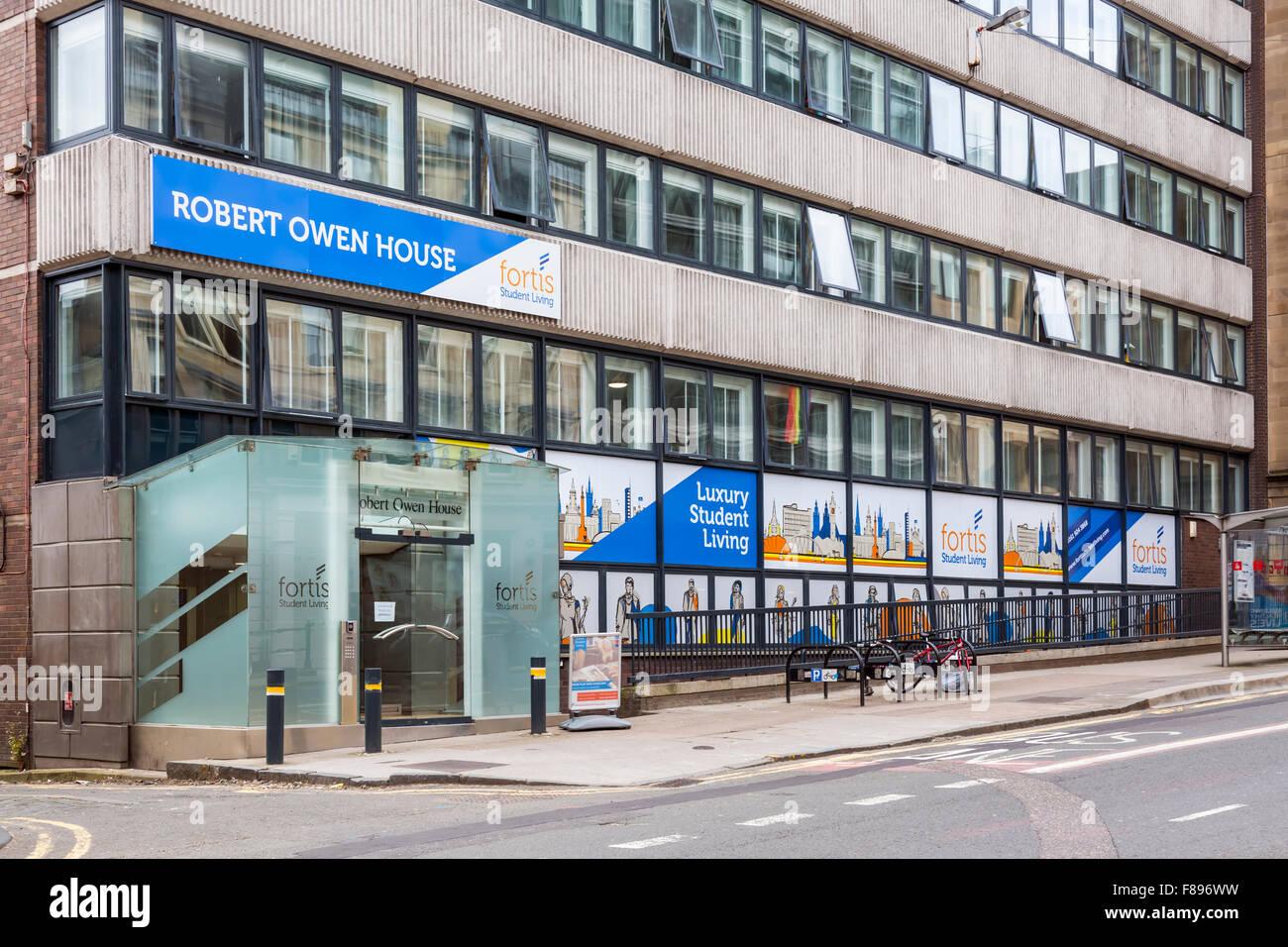 Robert Owen Chambre de luxe, chambres d'étudiants par Fortis, le centre-ville de Glasgow, Écosse, Royaume-Uni Banque D'Images