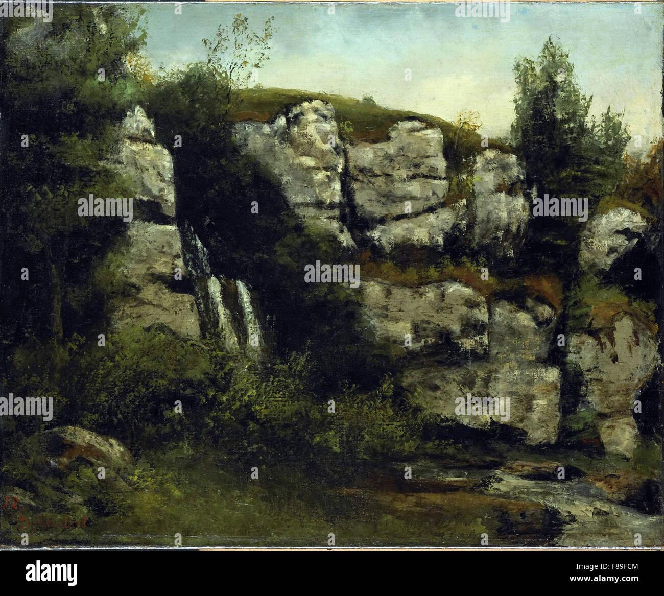 Gustave Courbet - paysage avec des falaises rocheuses et d'une chute Photo Stock