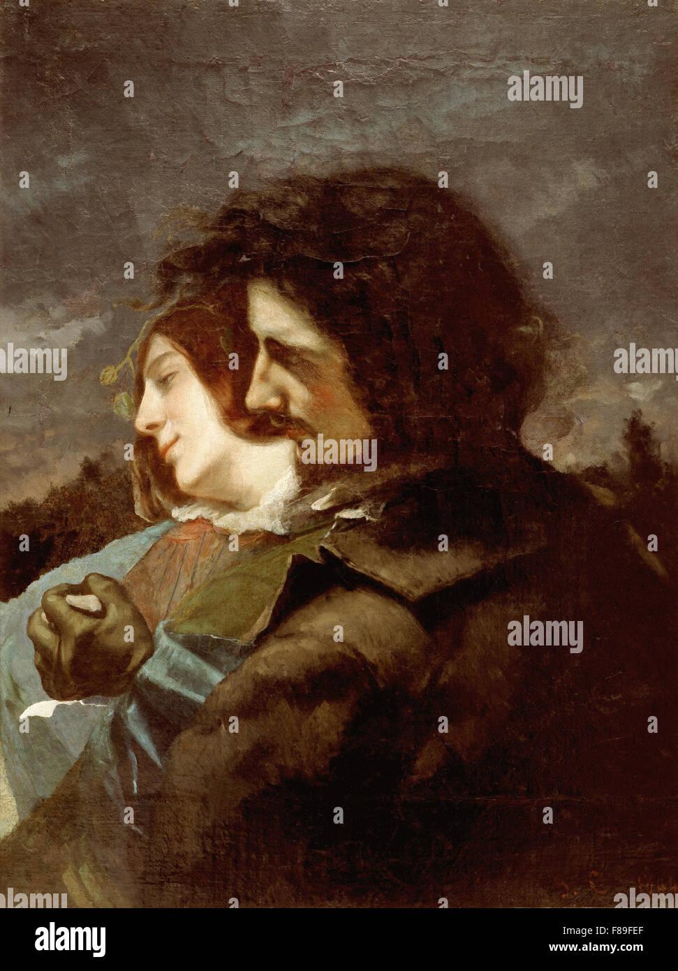 Gustave Courbet - amateurs dans le pays Photo Stock