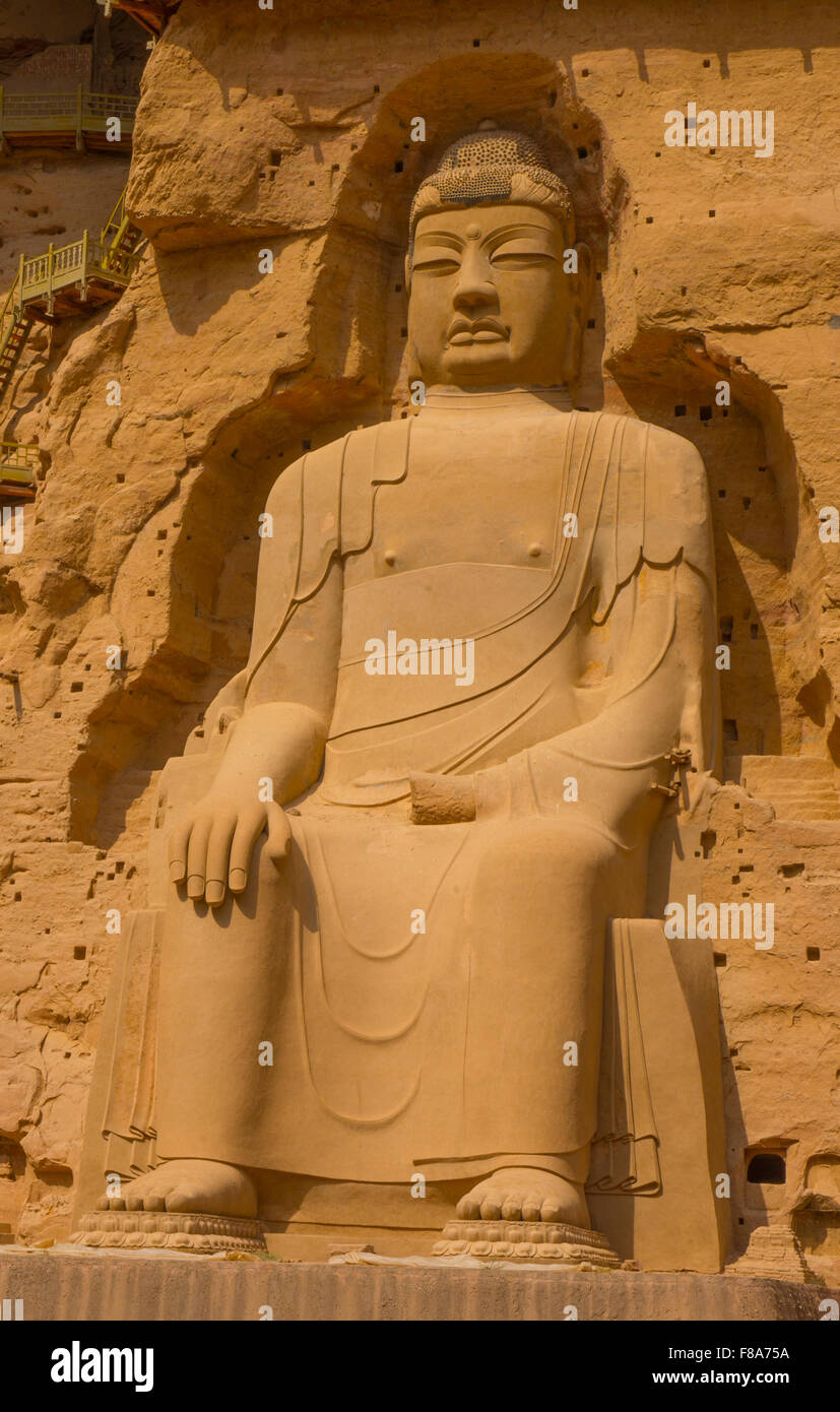 Immense statue de Bouddha, BIng Ling temple grotte et Ganshu Province, Chine Fleuve Jaune Photo Stock