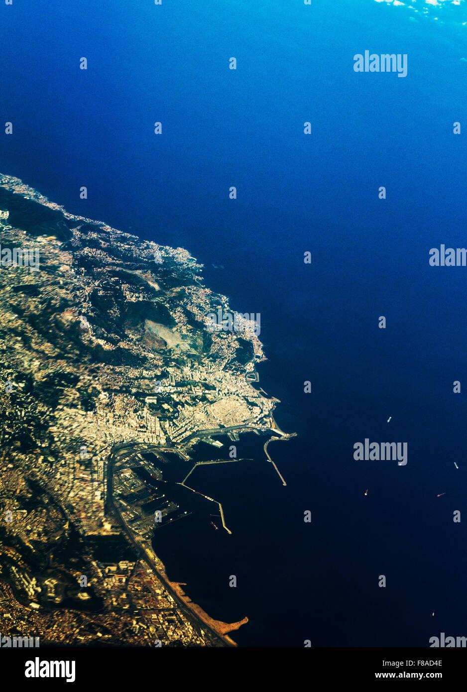Une vue aérienne d'Alger, la capitale de l'Algérie. Photo Stock