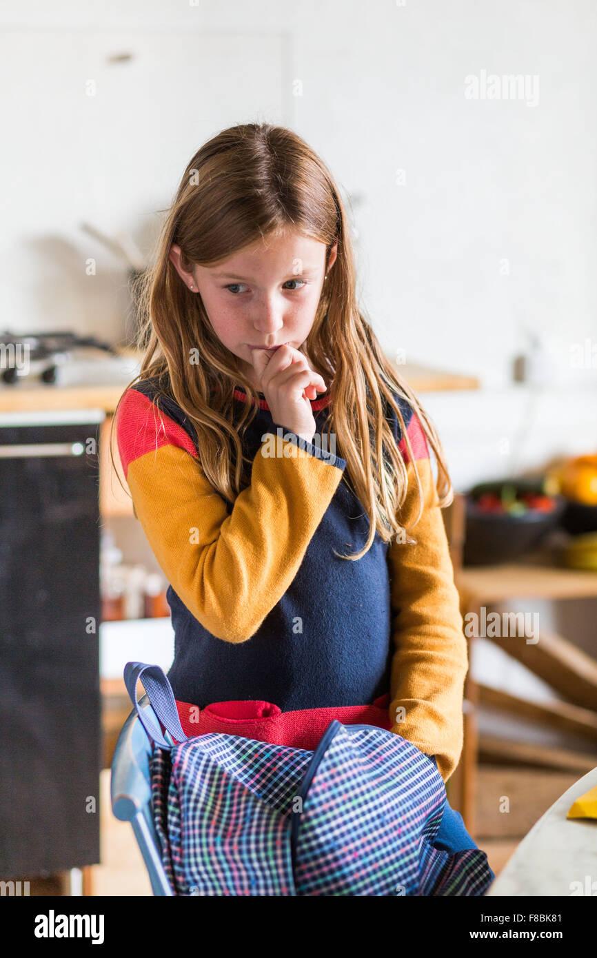 Petite fille de 9 ans. Photo Stock