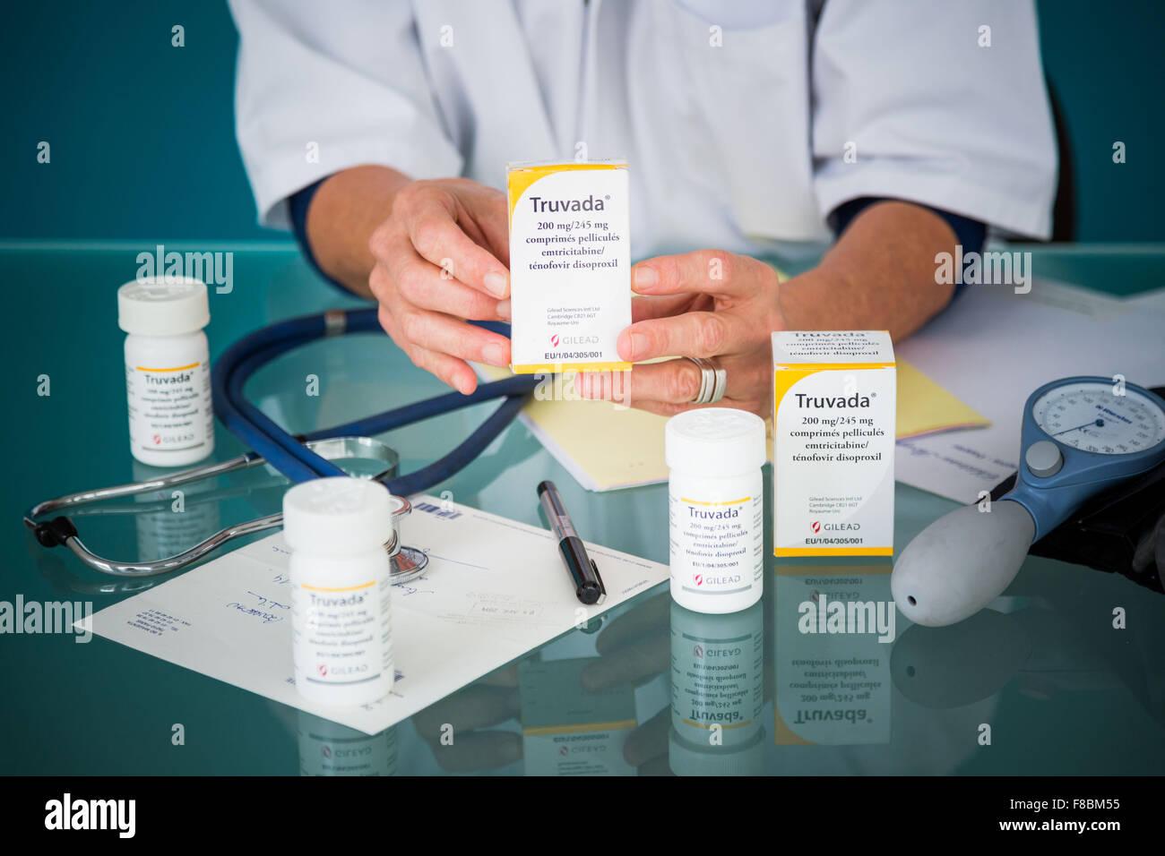Le Truvada ® prescription, l'usage de drogues en sida thérapie triple traitement. Photo Stock