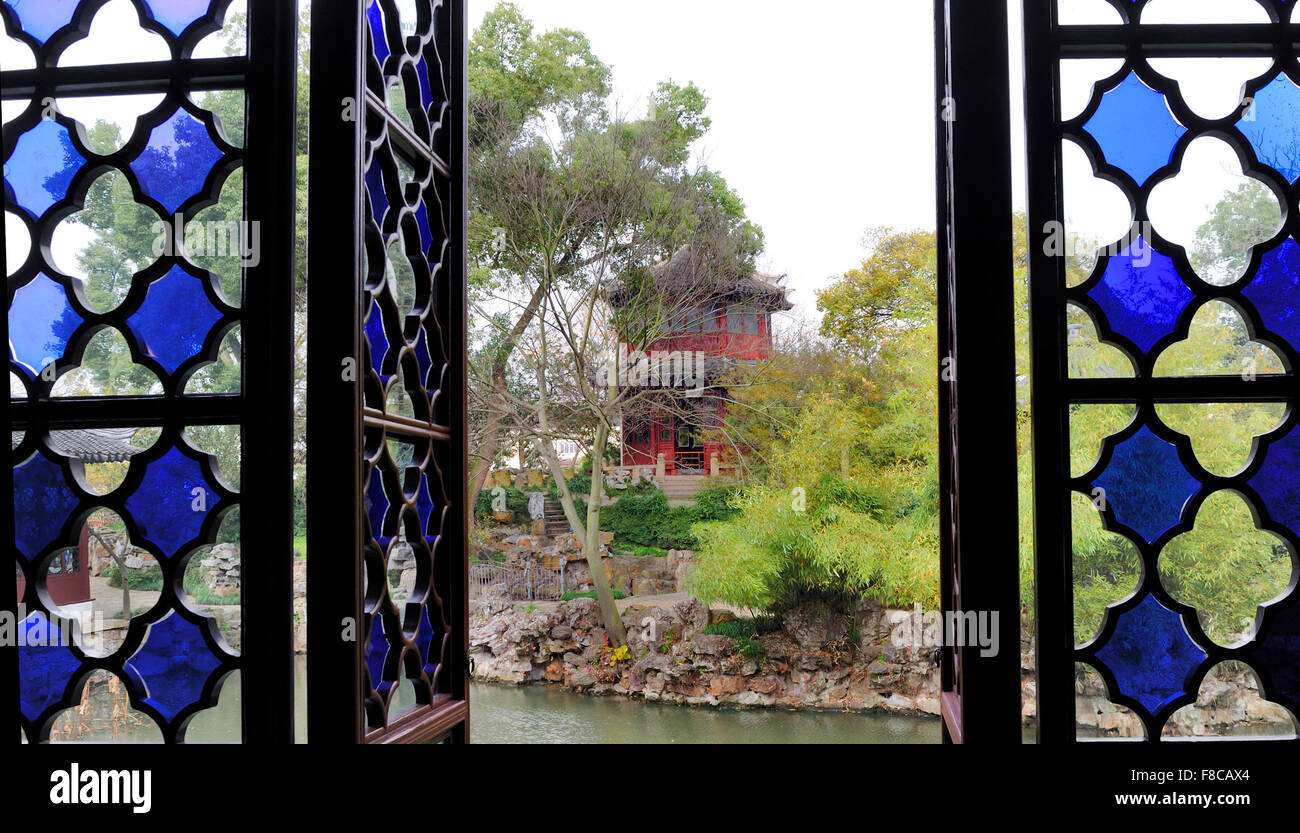 Jardin de l'Humble Administrateur , Suzhou, Chine. Il s'agit d'un site du patrimoine mondial de l'UNESCO Photo Stock