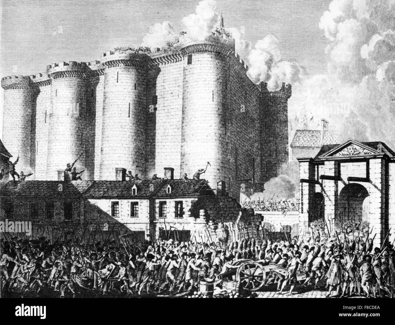Prise de la bastille, 14 juillet 1789 pendant la Révolution française Photo Stock