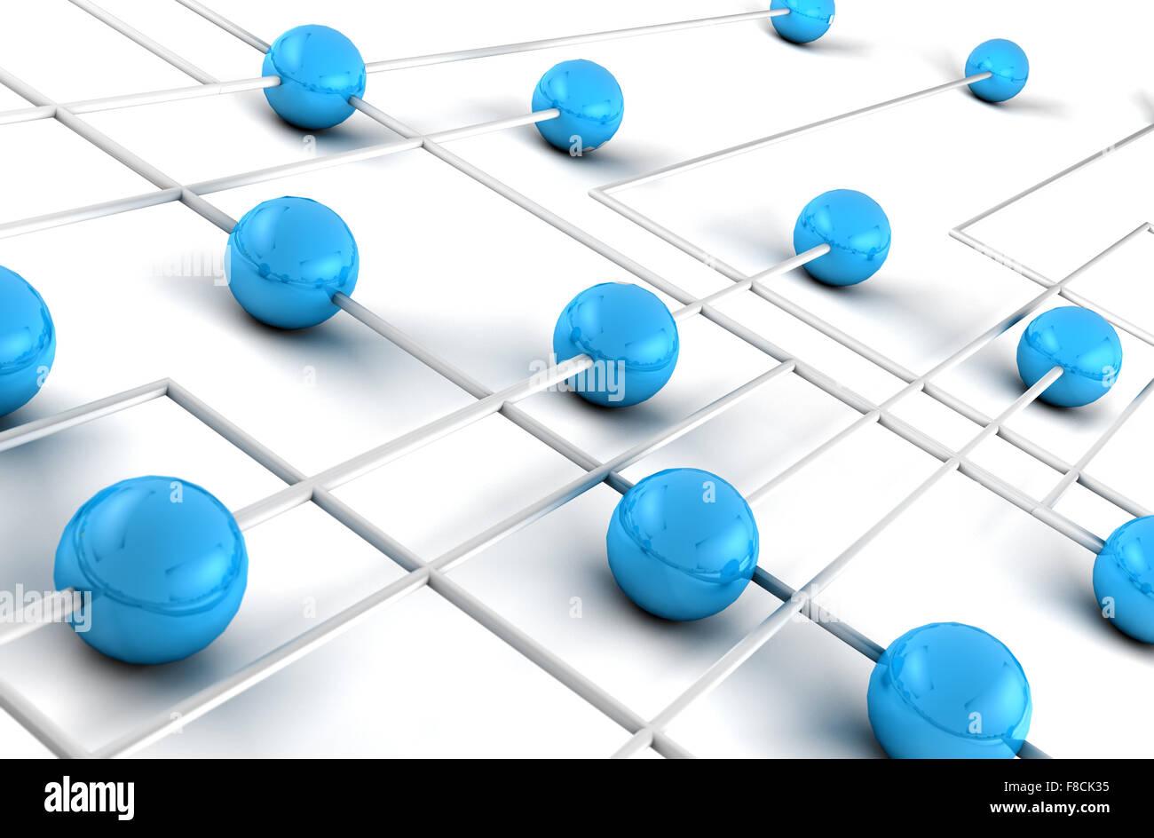 Concept de réseau et Internet.3D Net Banque D'Images