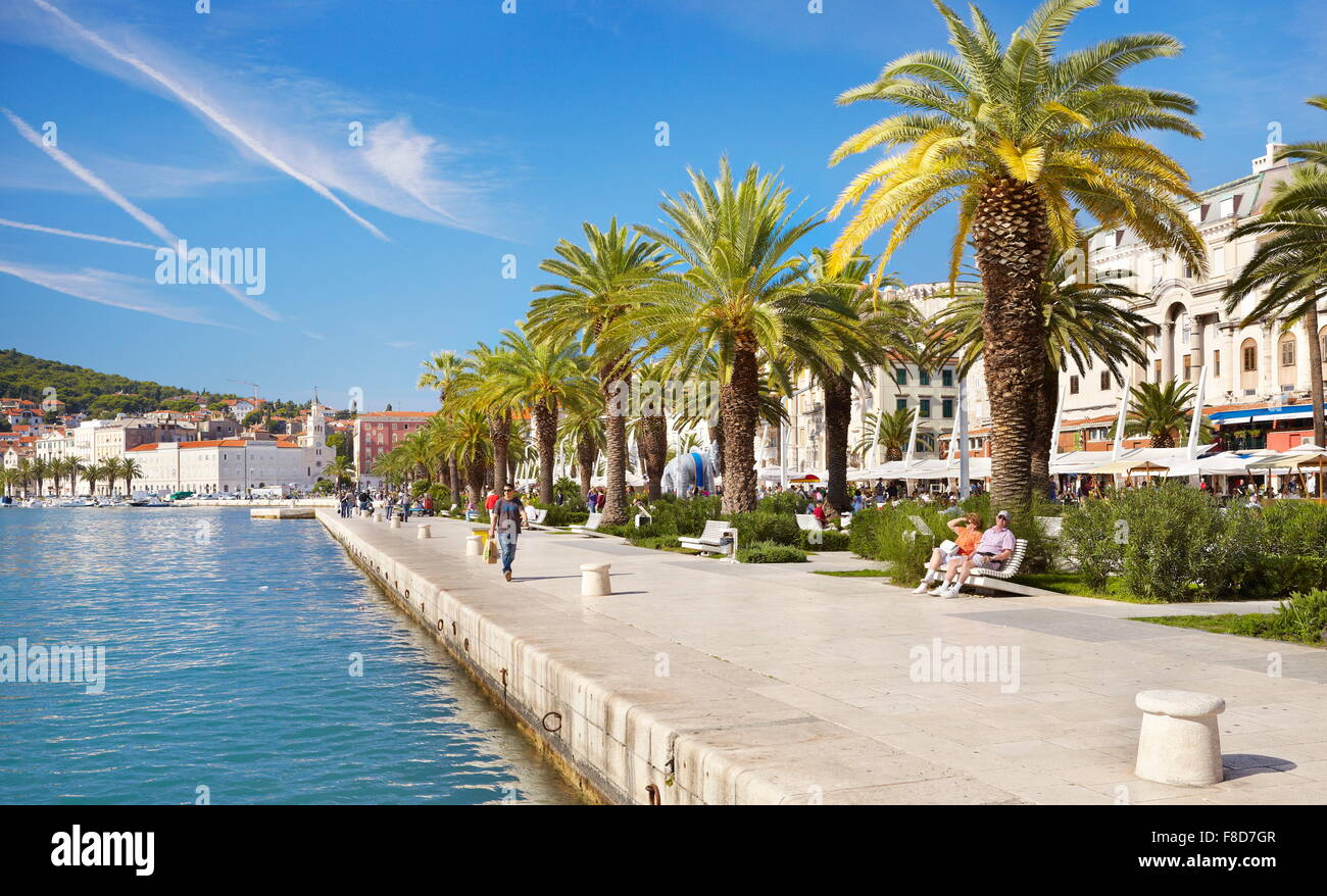 Split, promenade en bord de mer, la Croatie, Dalmatie, Europe Photo Stock
