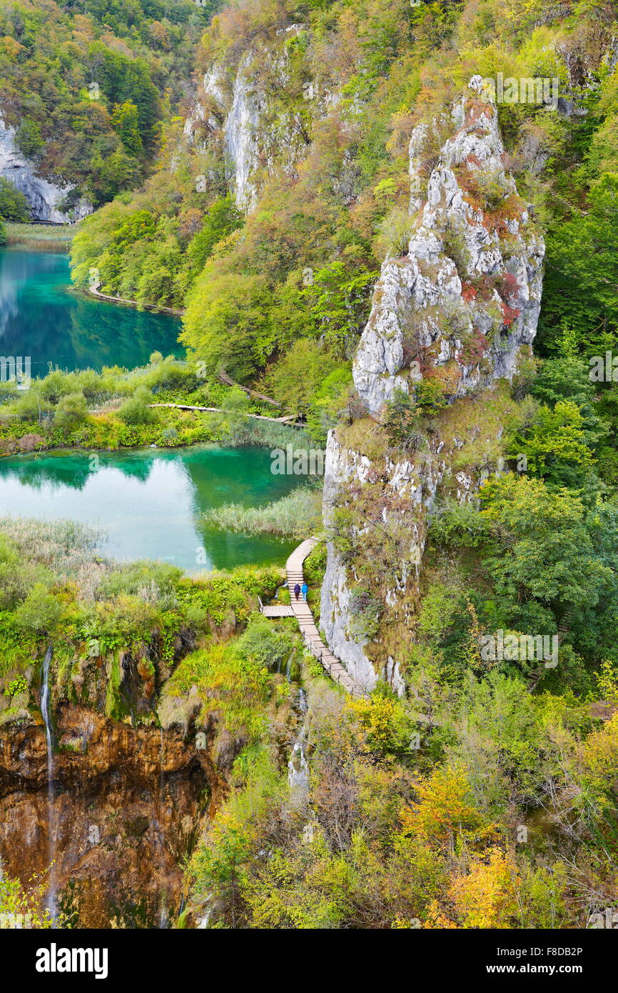 Croatie - Le parc national des Lacs de Plitvice (Plitvicka Jezera), Plitvice, l'UNESCO Photo Stock