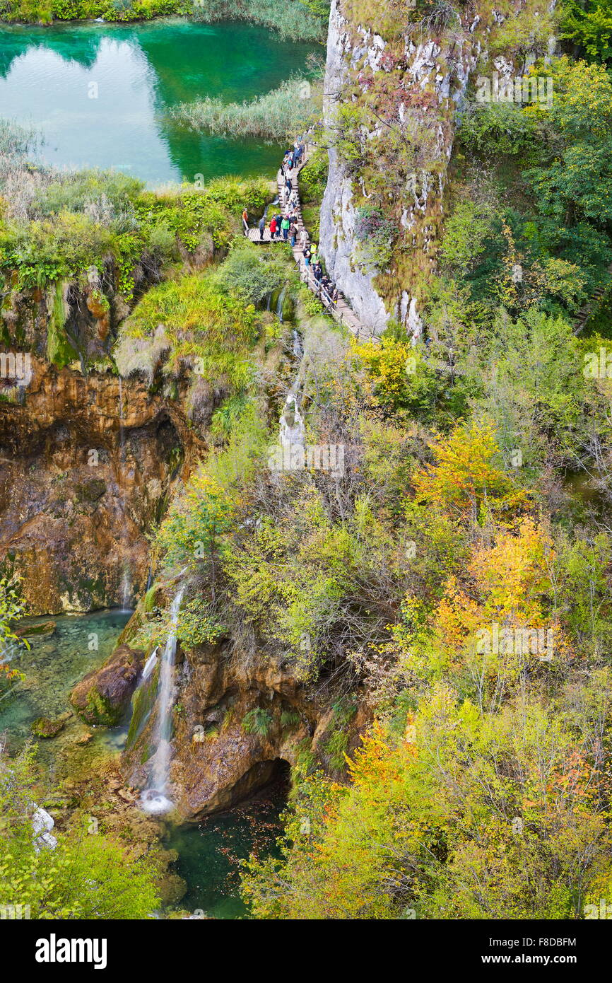 Le parc national des Lacs de Plitvice en automne, la Croatie, l'UNESCO Photo Stock