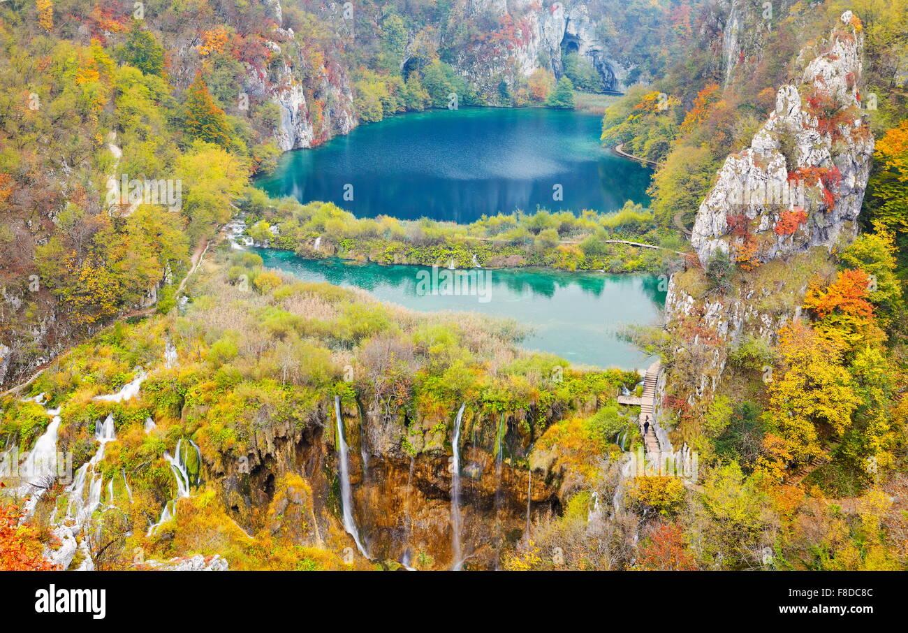 Croatie - les paysages d'automne Le parc national des Lacs de Plitvice, l'UNESCO Photo Stock