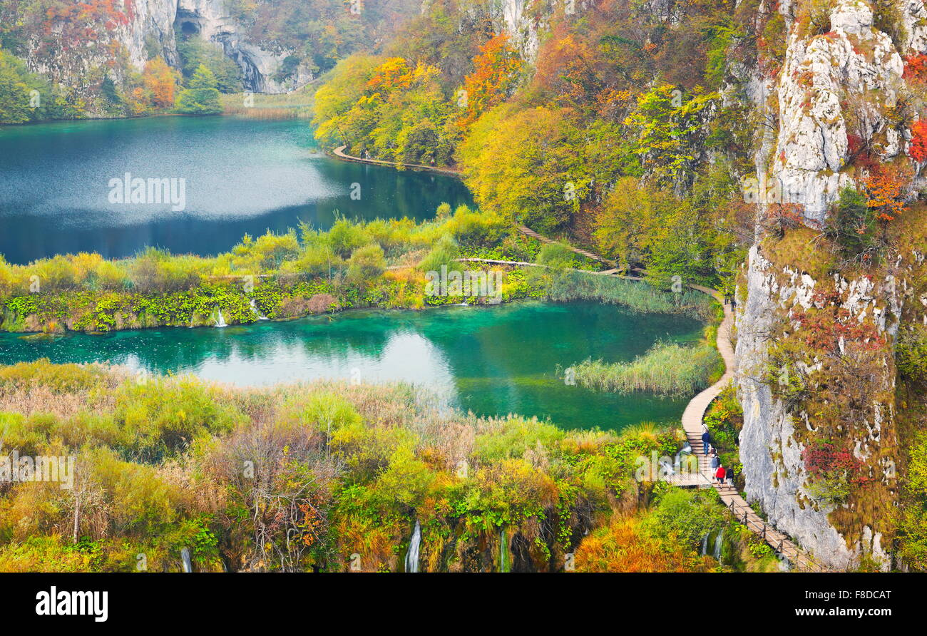 Paysage d'automne du parc national des Lacs de Plitvice, Croatie, l'UNESCO Photo Stock