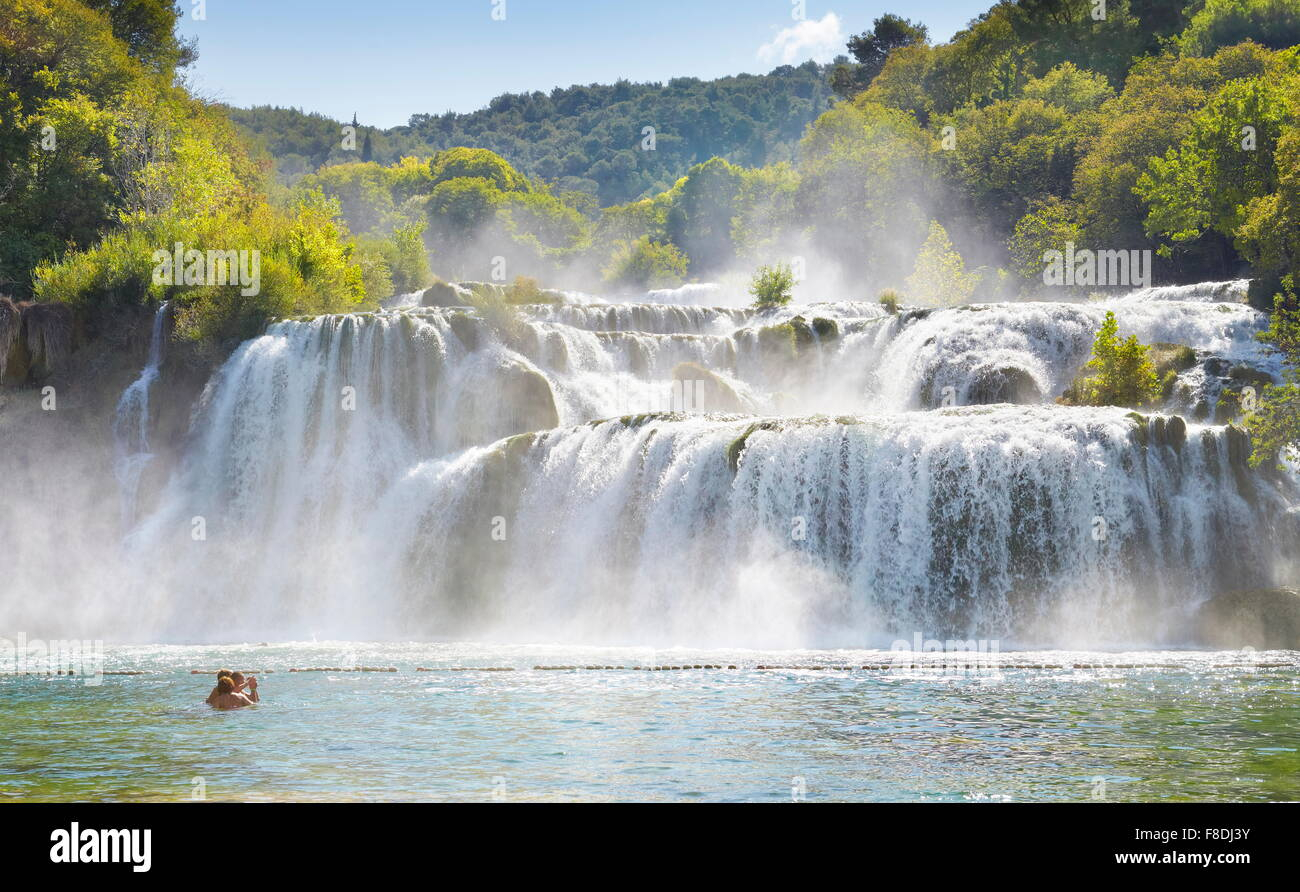 Les chutes de Krka, Parc National de Krka, Croatie, Europe Photo Stock