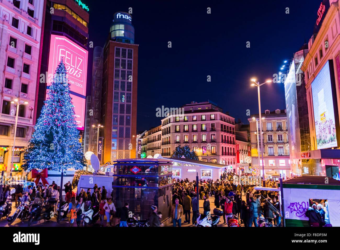 Les lumières de Noël à Madrid. L'Espagne. L'Europe Photo Stock