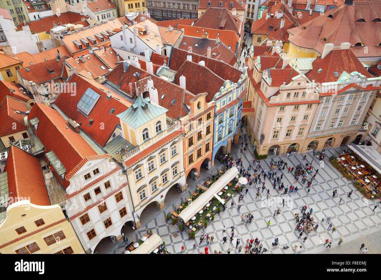 Ariel vue sur la place de la Vieille Ville, Prague, République tchèque, l'UNESCO Photo Stock