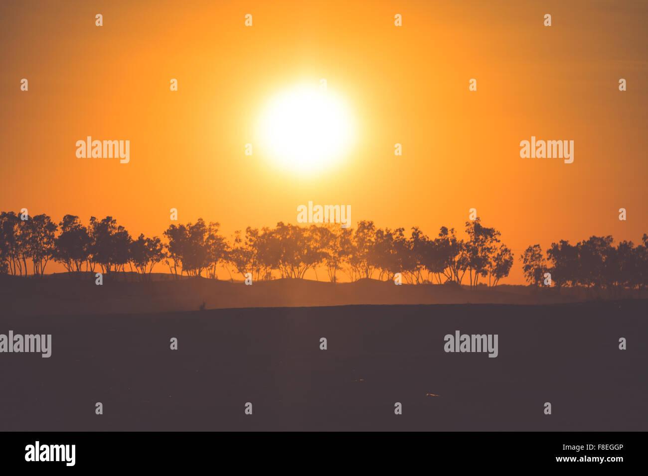 Coucher du soleil dans le désert du Sahara - Douz, Tunisie. Photo Stock