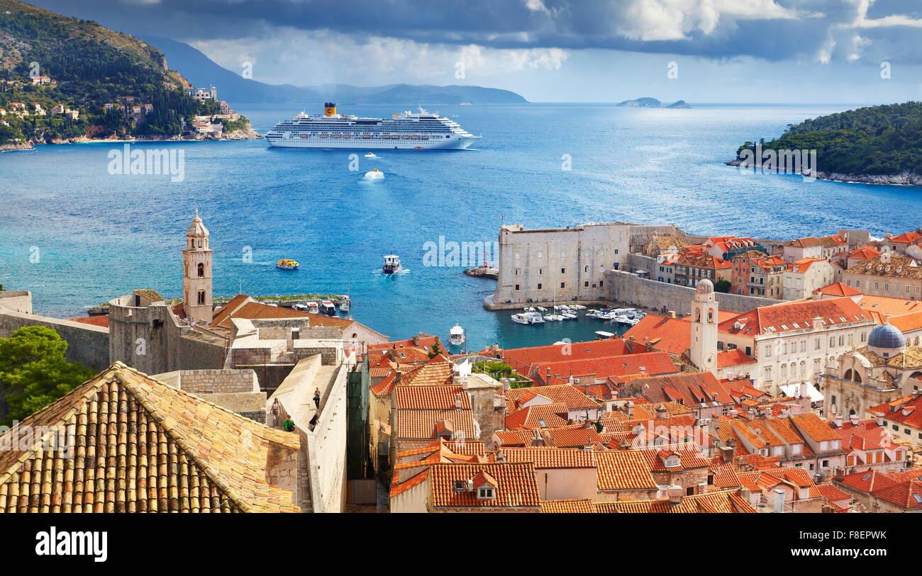 Vue aérienne de la vieille ville de Dubrovnik, Croatie Photo Stock