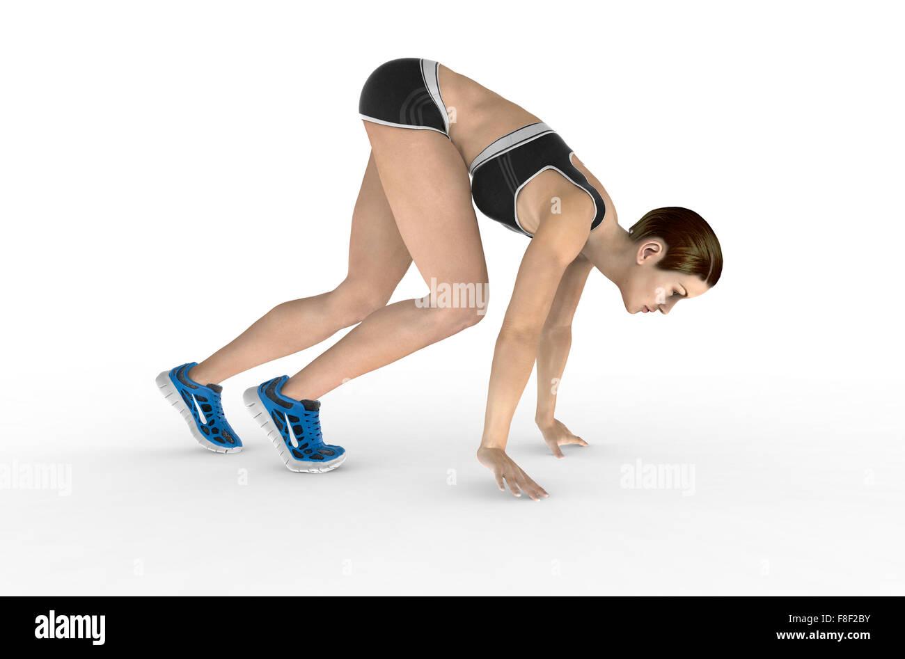 Athletic femme en position de départ accroupi prêt à commencer la course. Isolé sur fond blanc. Photo Stock