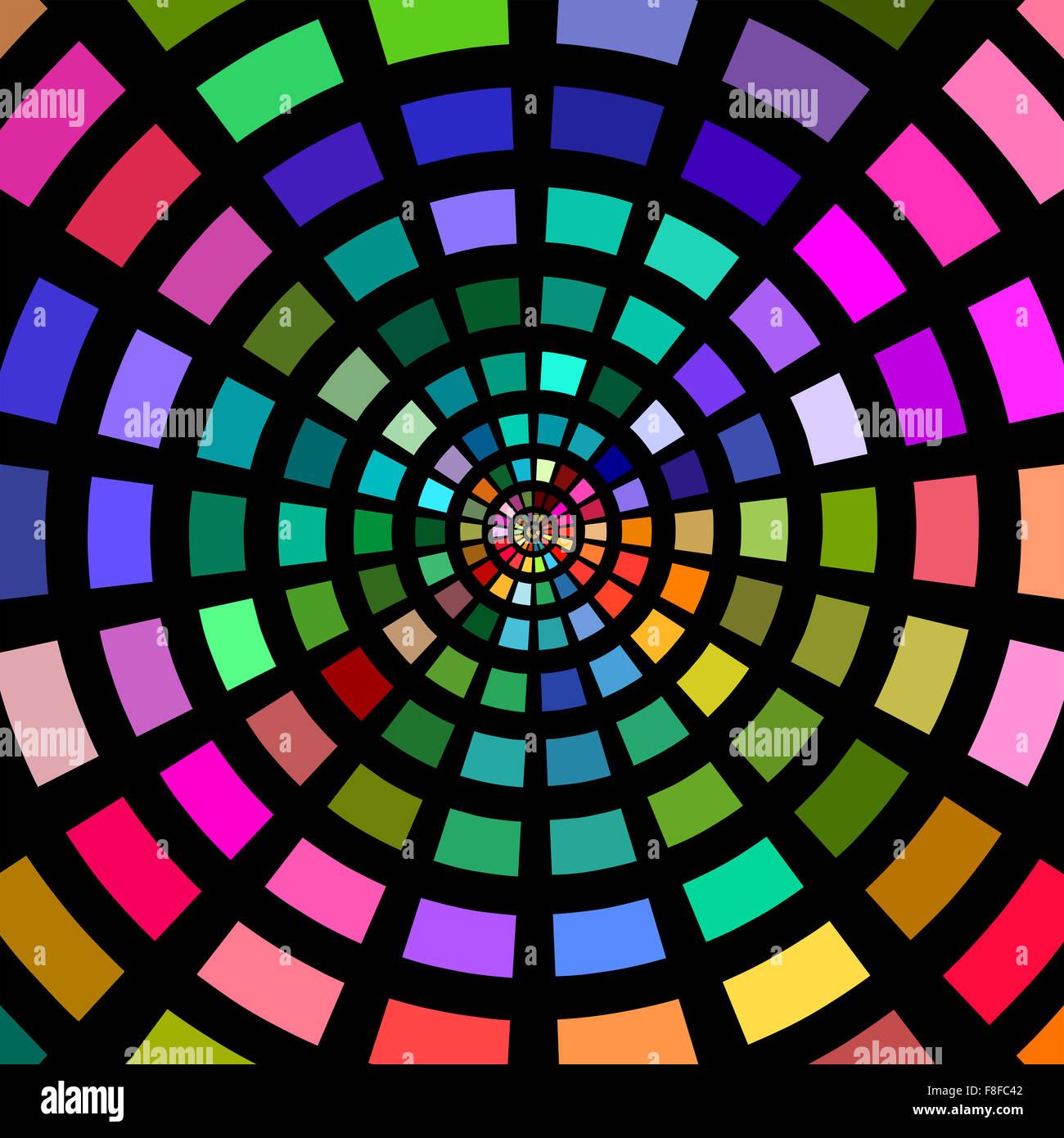 Cercles de blocs multicolores sur fond noir. Photo Stock
