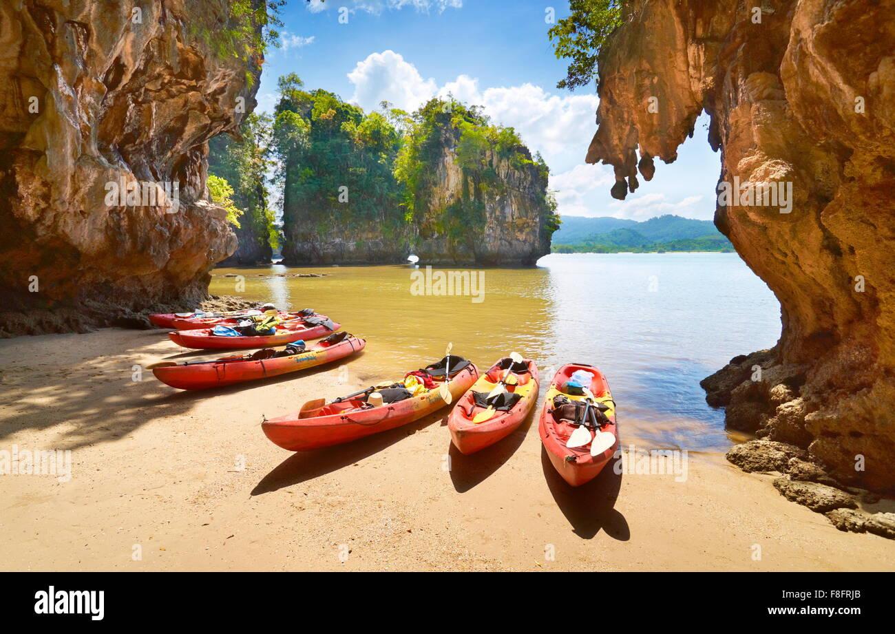 Thaïlande - province de Krabi, Phang Nga Bay, excursion en canot Photo Stock
