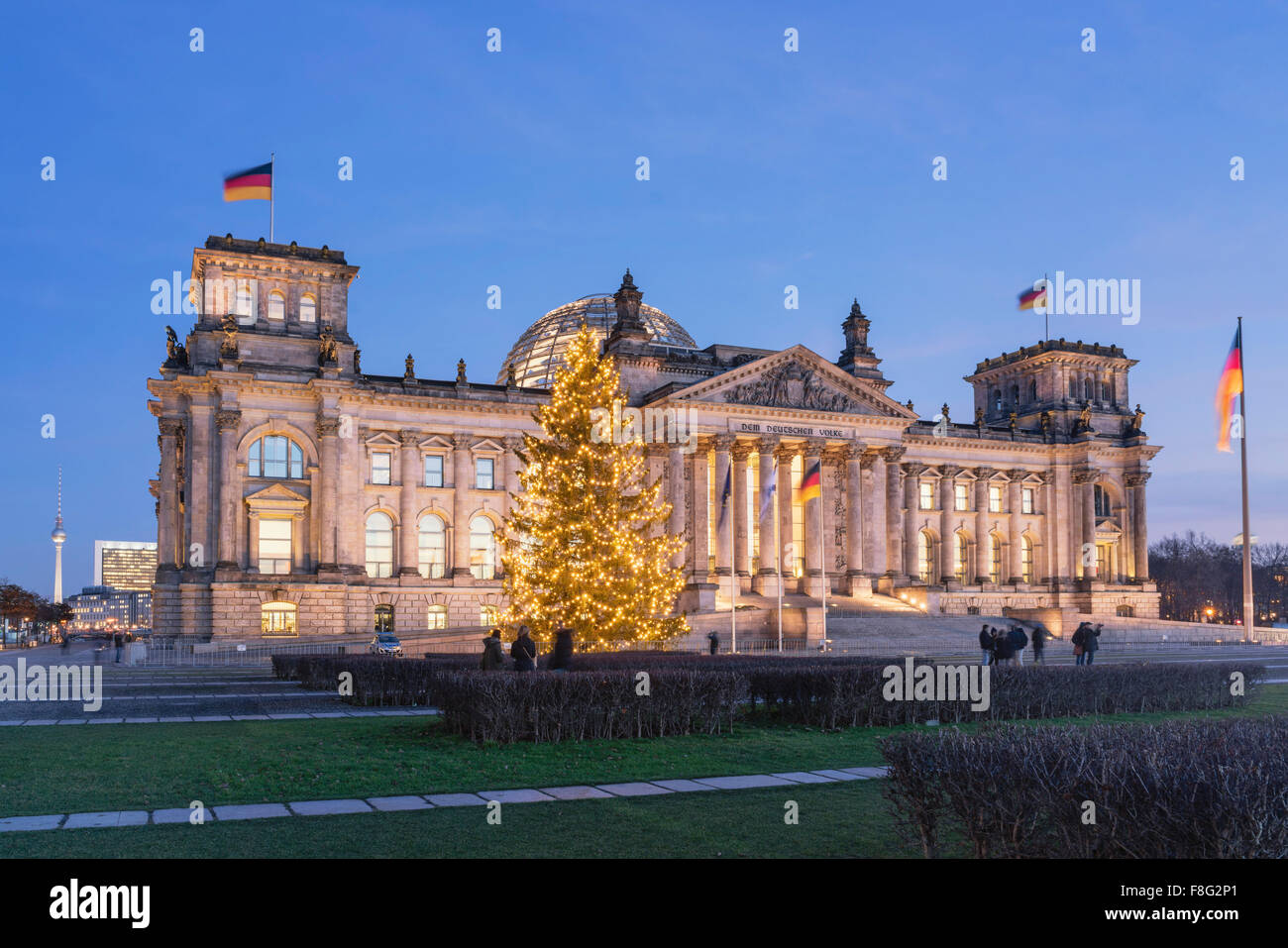 Arbre de Noël, du Reichstag, Berlin, Allemagne Photo Stock