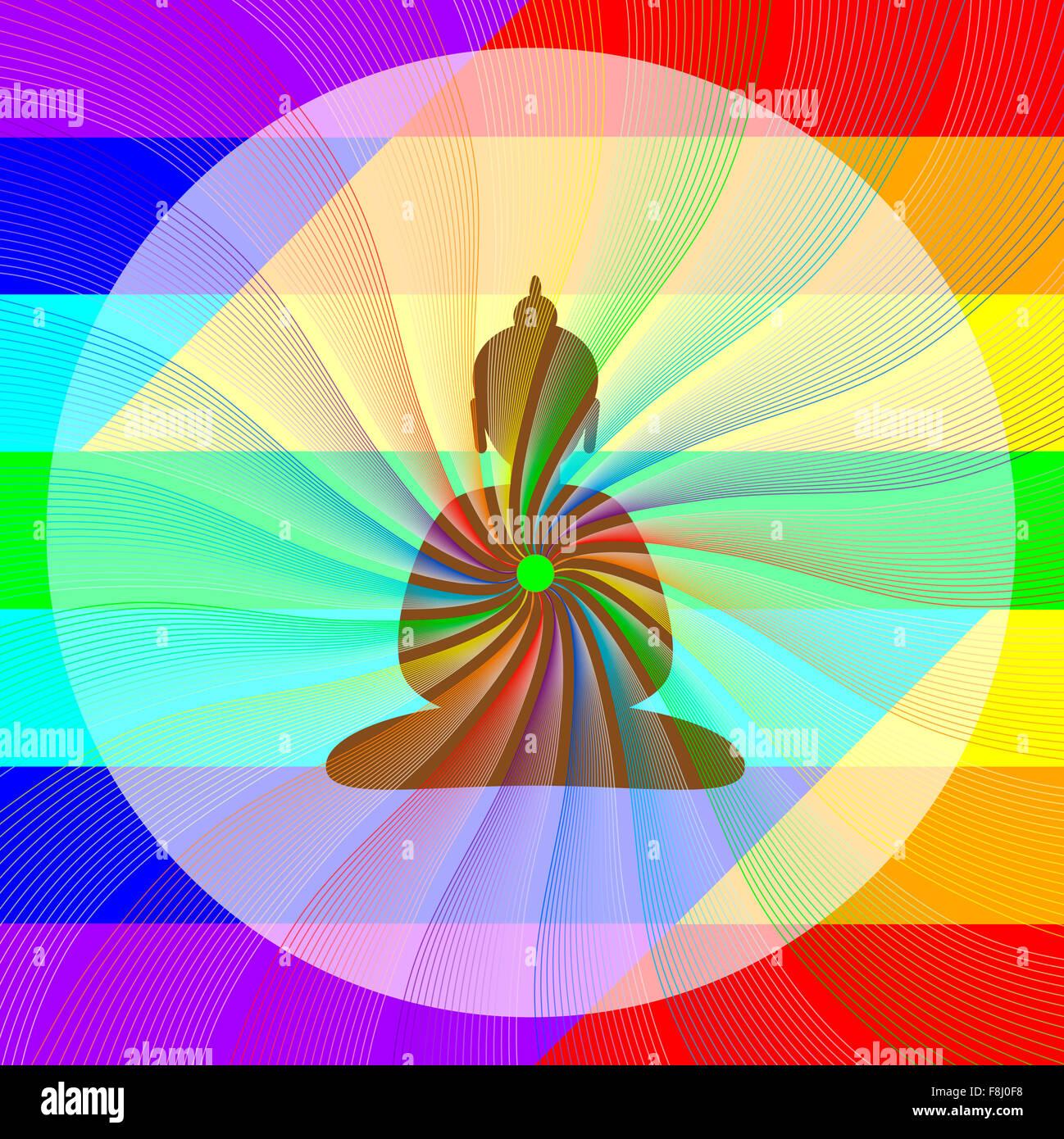 Bouddha en méditation avec vagues arc-en-ciel de son cœur Banque D'Images