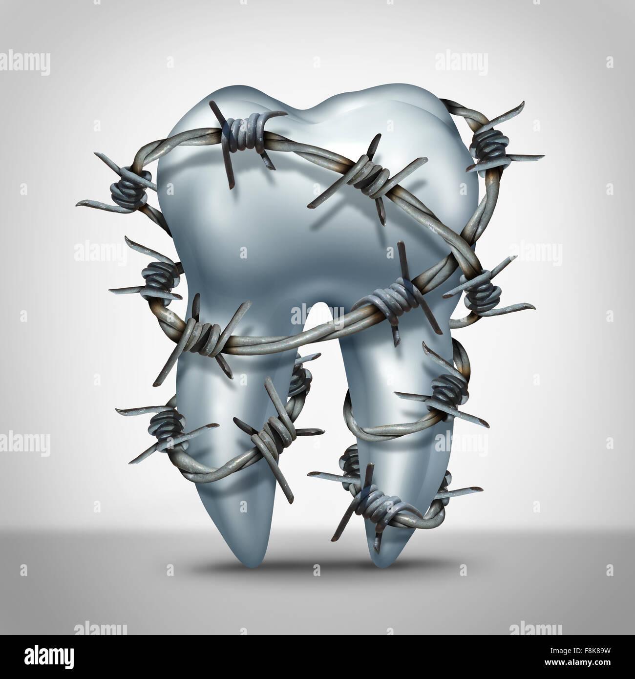 La douleur des dents dents dentaires concept comme un humain avec des symbole molaire barbelés comme métaphore Photo Stock