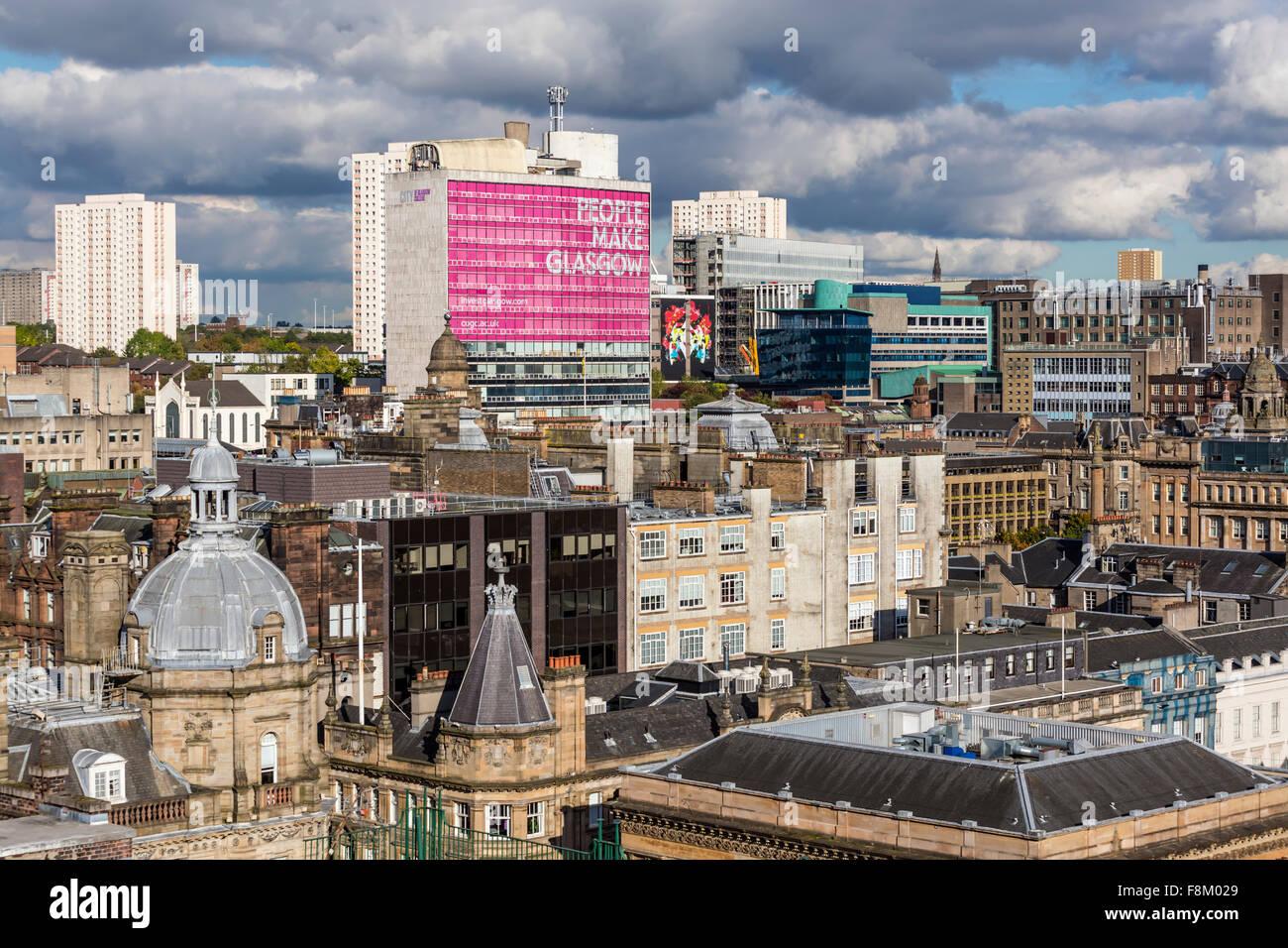 Vue sur le nord-est au-dessus du centre-ville de Glasgow depuis la Lighthouse Tower, Écosse, Royaume-Uni Banque D'Images