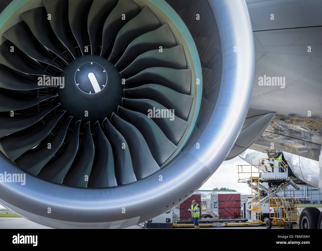 Close up de jet turbine sur A380 Photo Stock