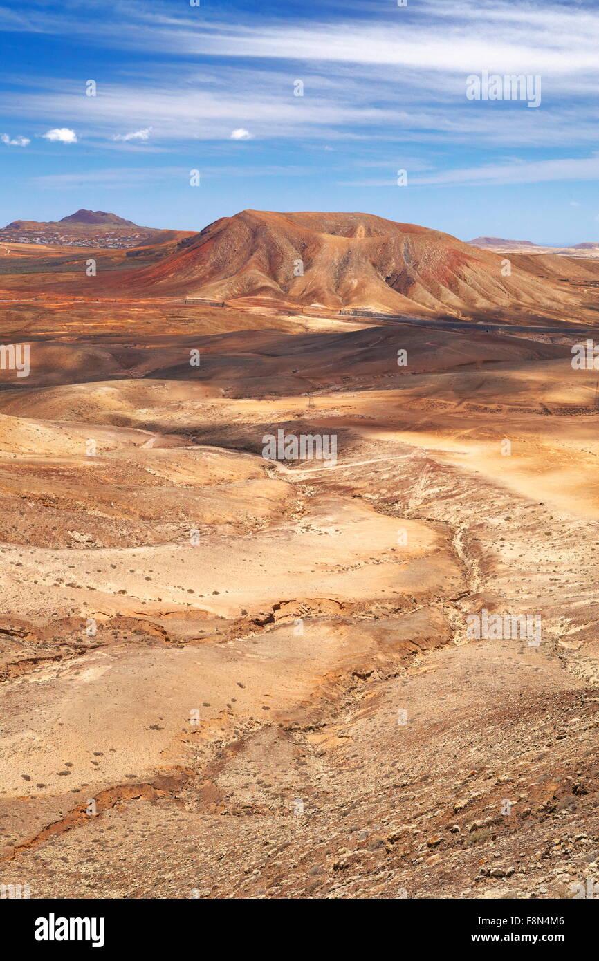 Paysage volcanique de la lune à l'île de Fuerteventura, Îles Canaries, Espagne Photo Stock