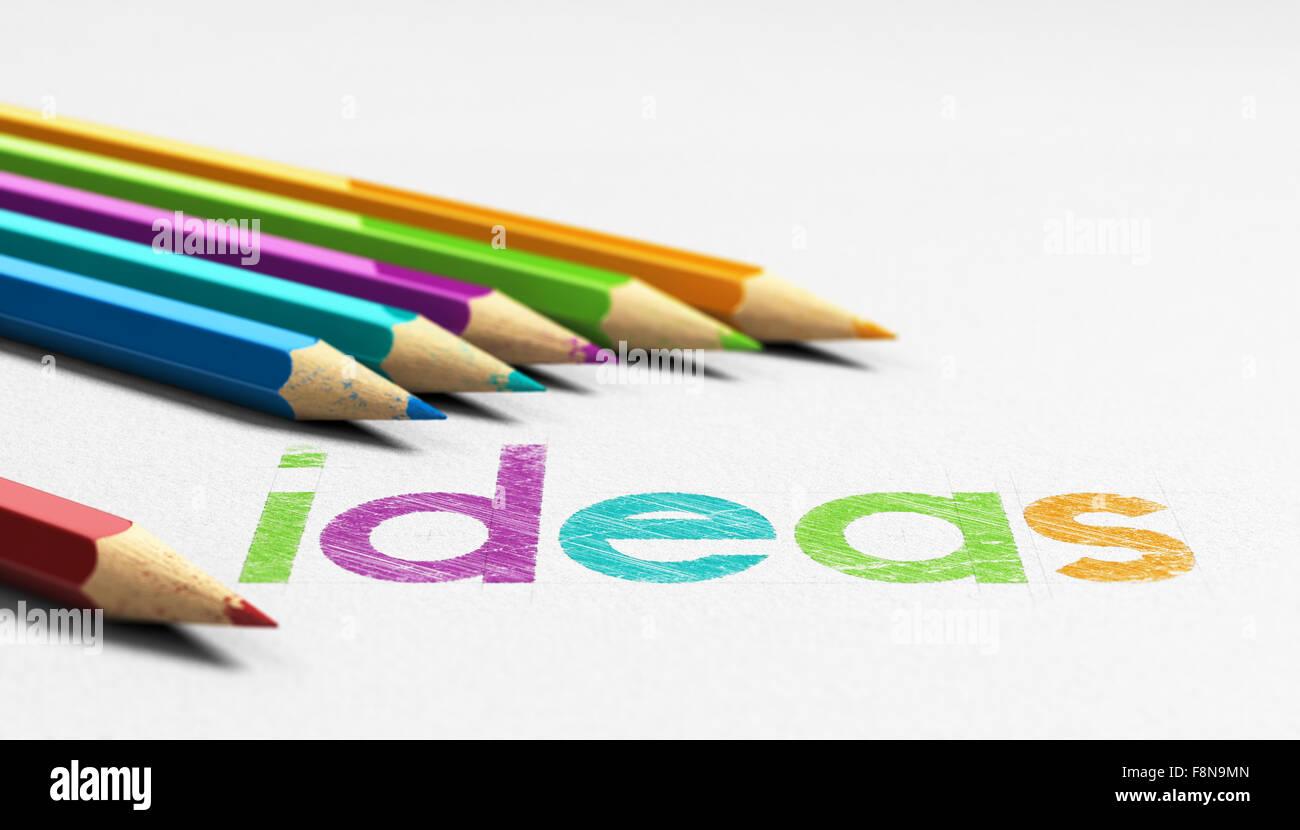 Idées de mots à la main sur une texture de papier avec 6 crayons en bois coloré il sourrounding. Photo Stock