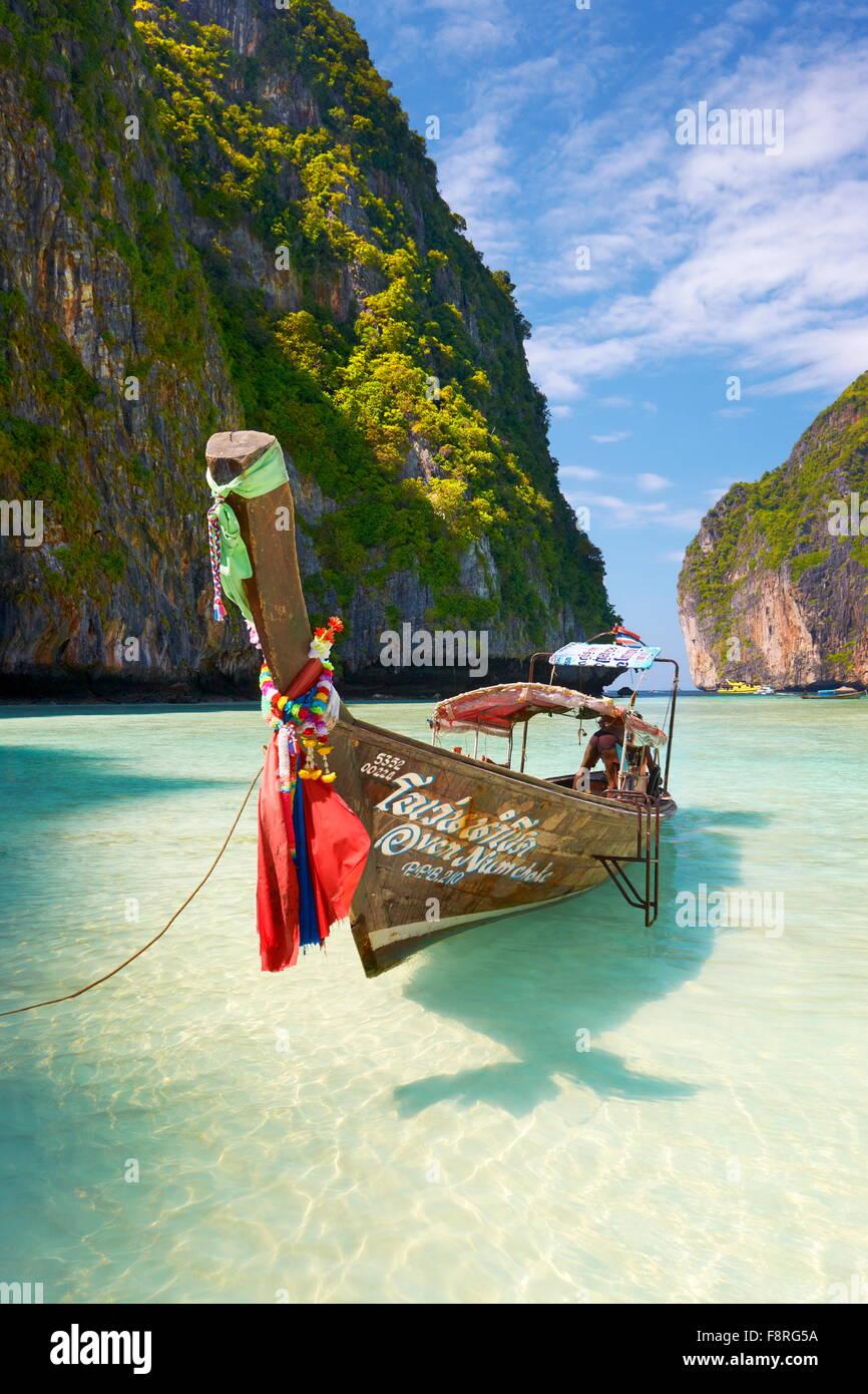 Thaïlande - Phang Nga, Maya Bay sur l'île de Phi Phi Leh, la mer d'Andaman Photo Stock