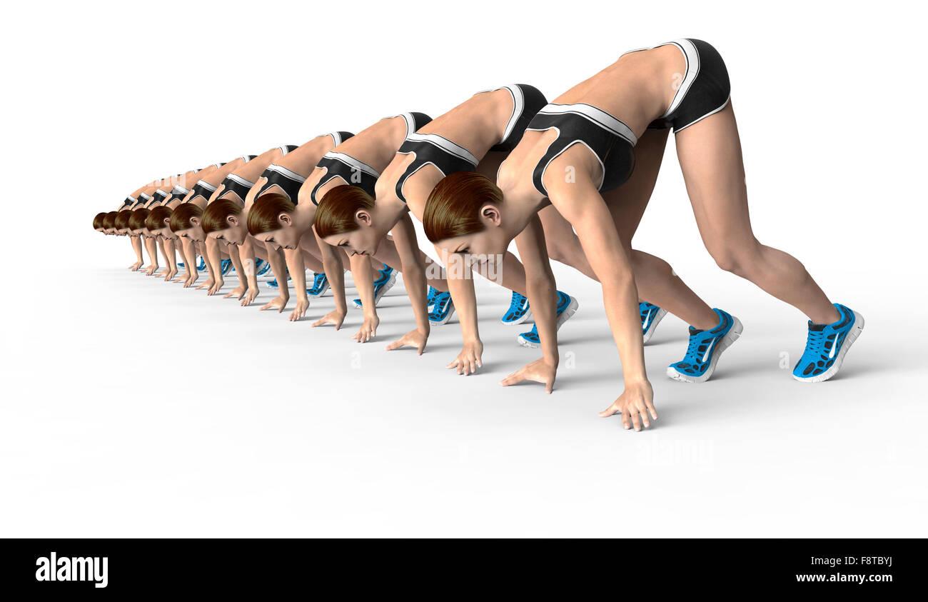 Les femmes athlétiques en position de départ accroupi prêt à commencer la course. Isolé Photo Stock