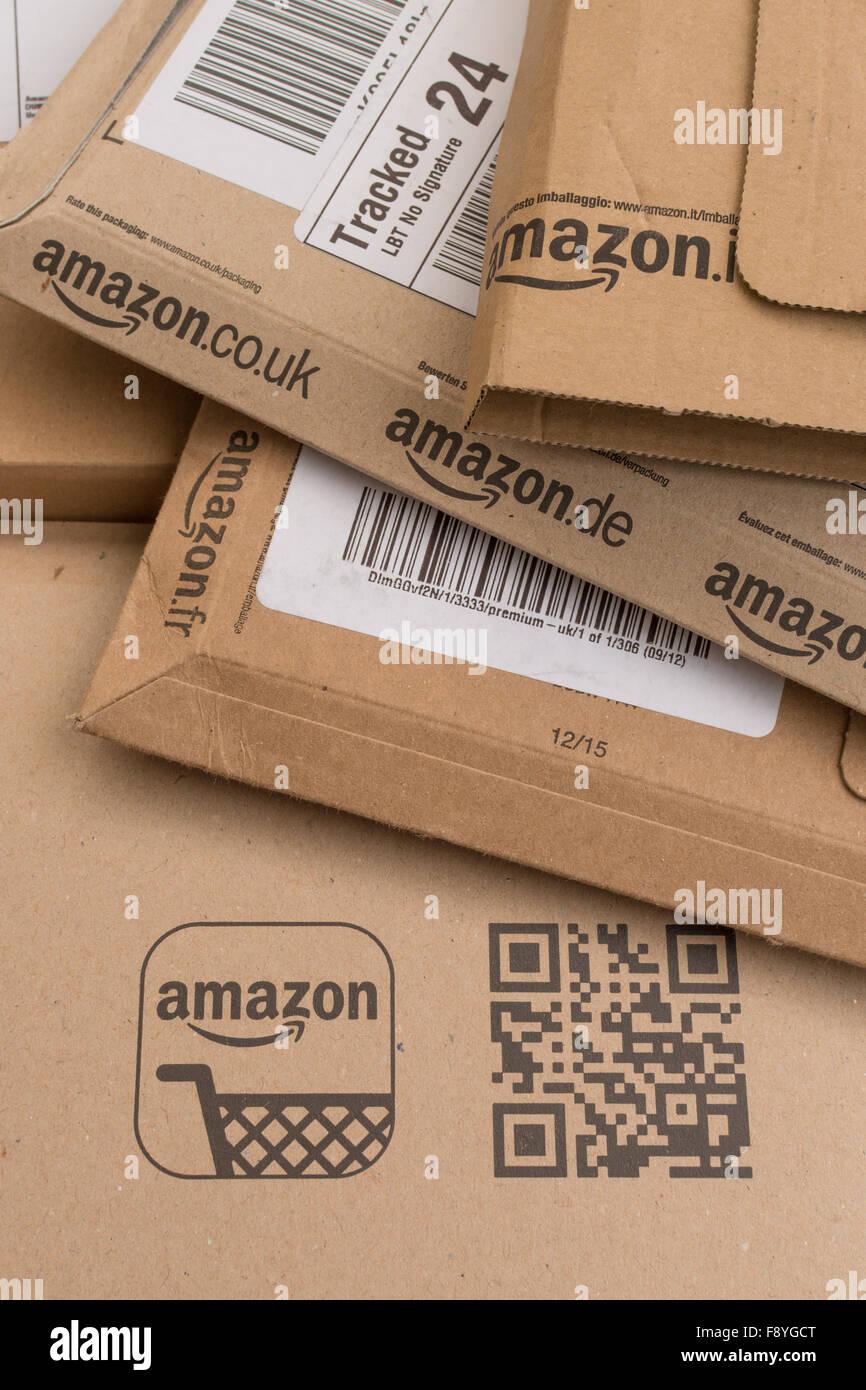Amazon emballage caisses Photo Stock