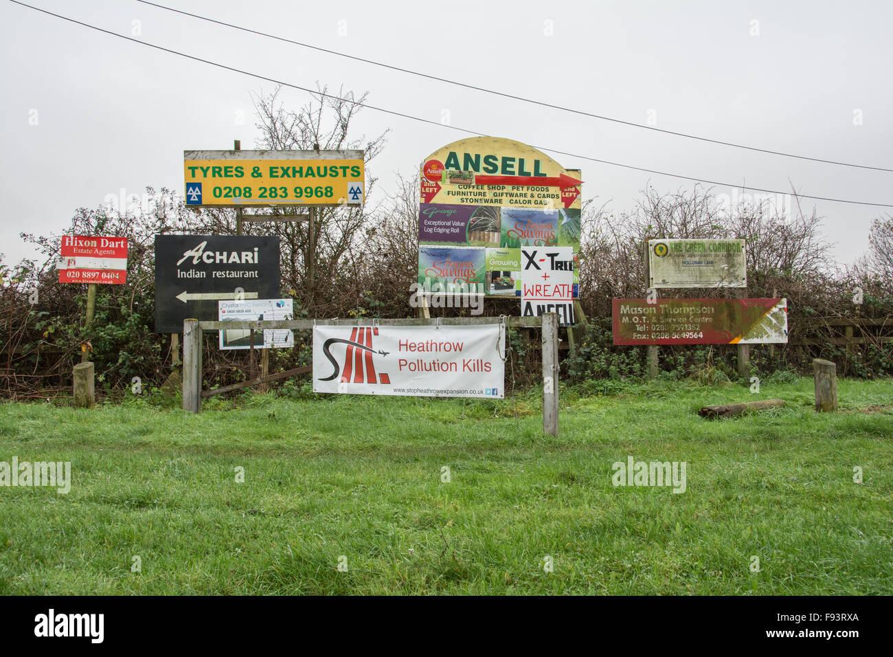La pollution tue près de Heathrow Sipson un ancien village menacé de destruction en raison de l'agrandissement Photo Stock