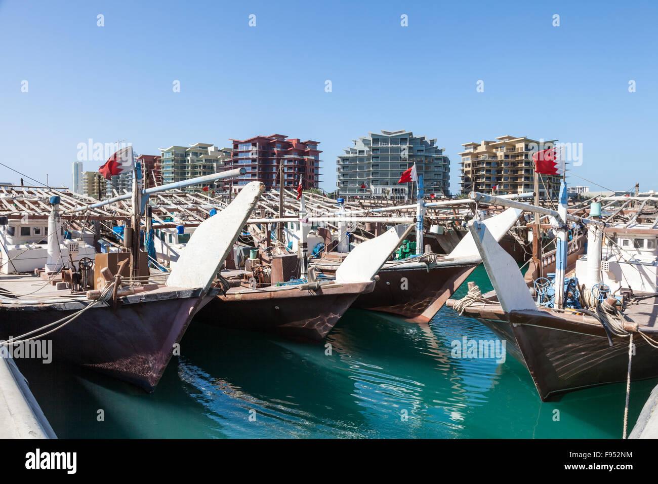 Port de boutres à Manama, Bahreïn Photo Stock