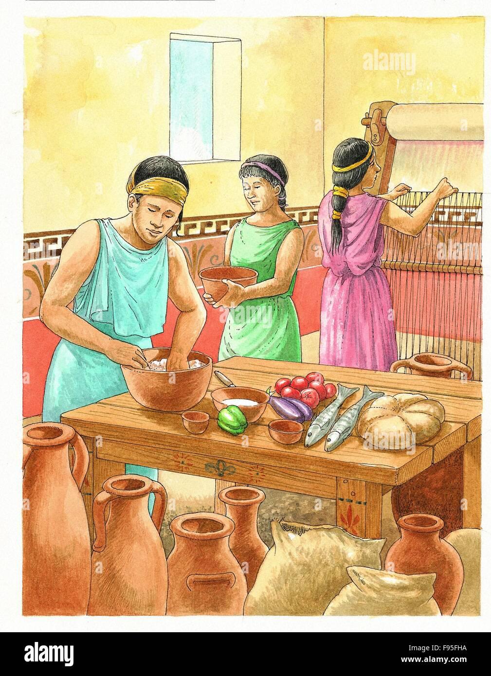 La cuisine d'Athéniens prospère. Banque D'Images