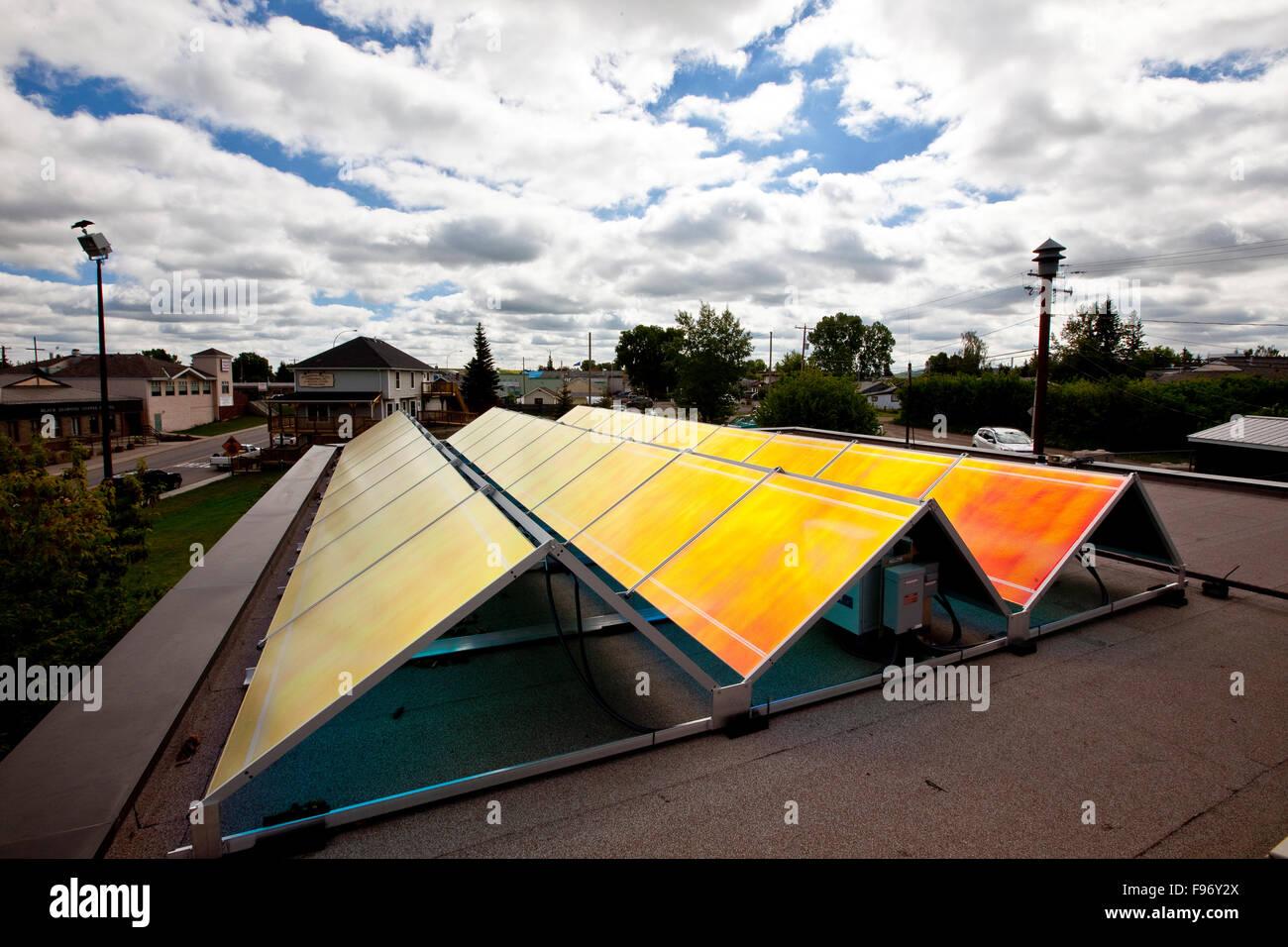 Les panneaux solaires, l'Alberta, Canada. Photo Stock
