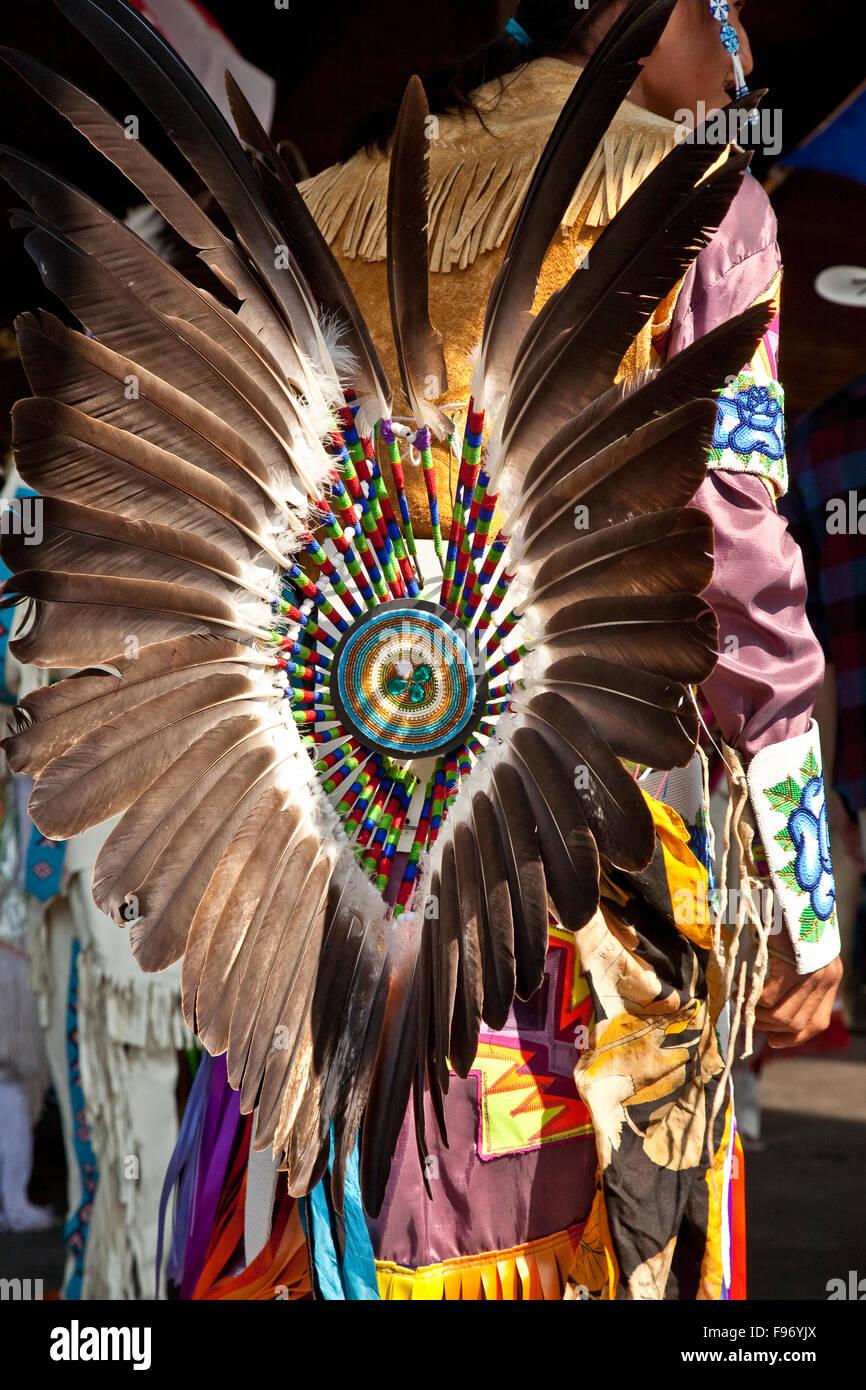 Costume de danse traditionnelle des Premières Nations, 2015 Calgary Stampede, Calgary, Alberta, Canada. Photo Stock