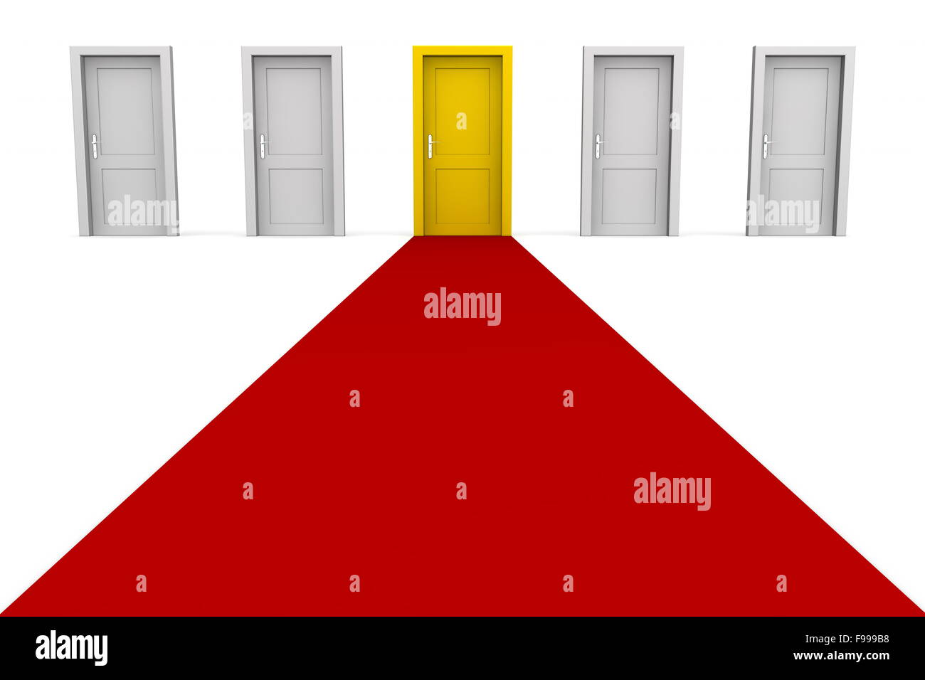 Cinq portes et un tapis rouge - jaune Photo Stock