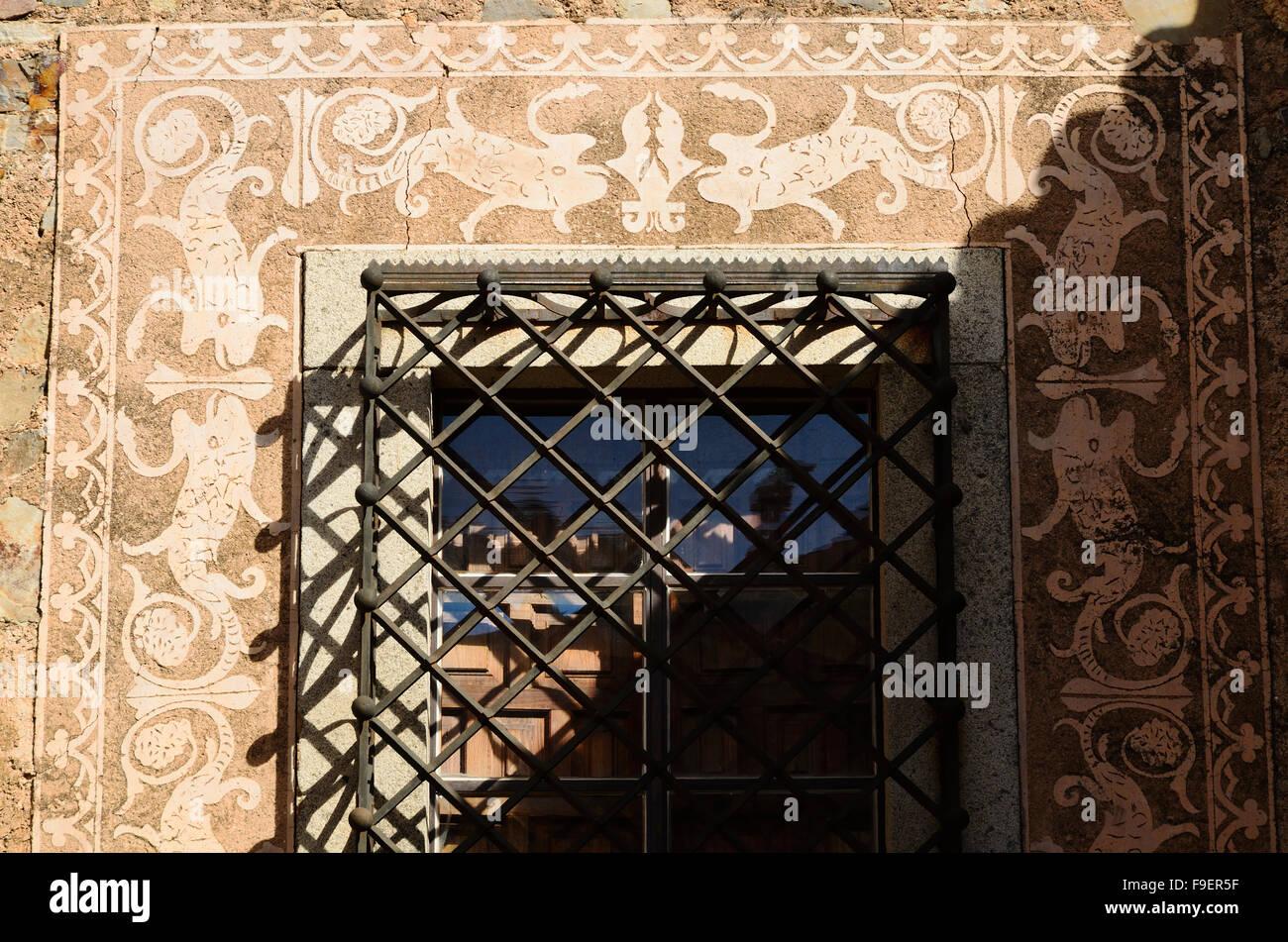 Détails du Palais du commandant de Alcuescar. Caceres. L'Estrémadure, Espagne. L'Europe Photo Stock