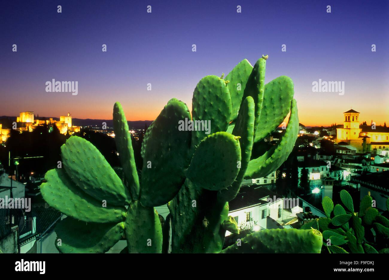 Vue sur la ville. Alhambra et Grenade trimestre(à droite Iglesia del Salvador). Grenade, Andalousie, Espagne Photo Stock