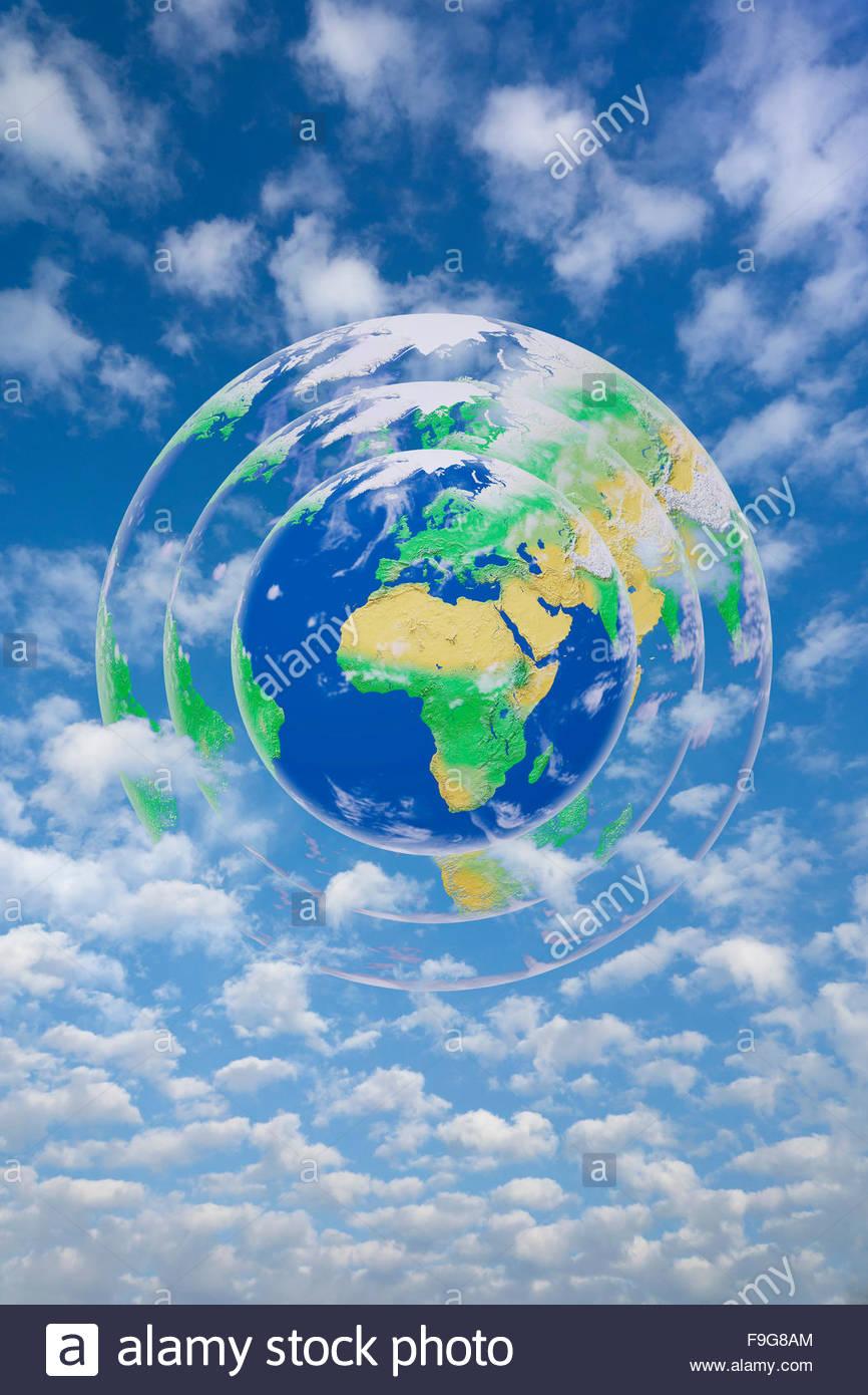 Concept illustration de la terre entourée par son atmosphère. Photo Stock