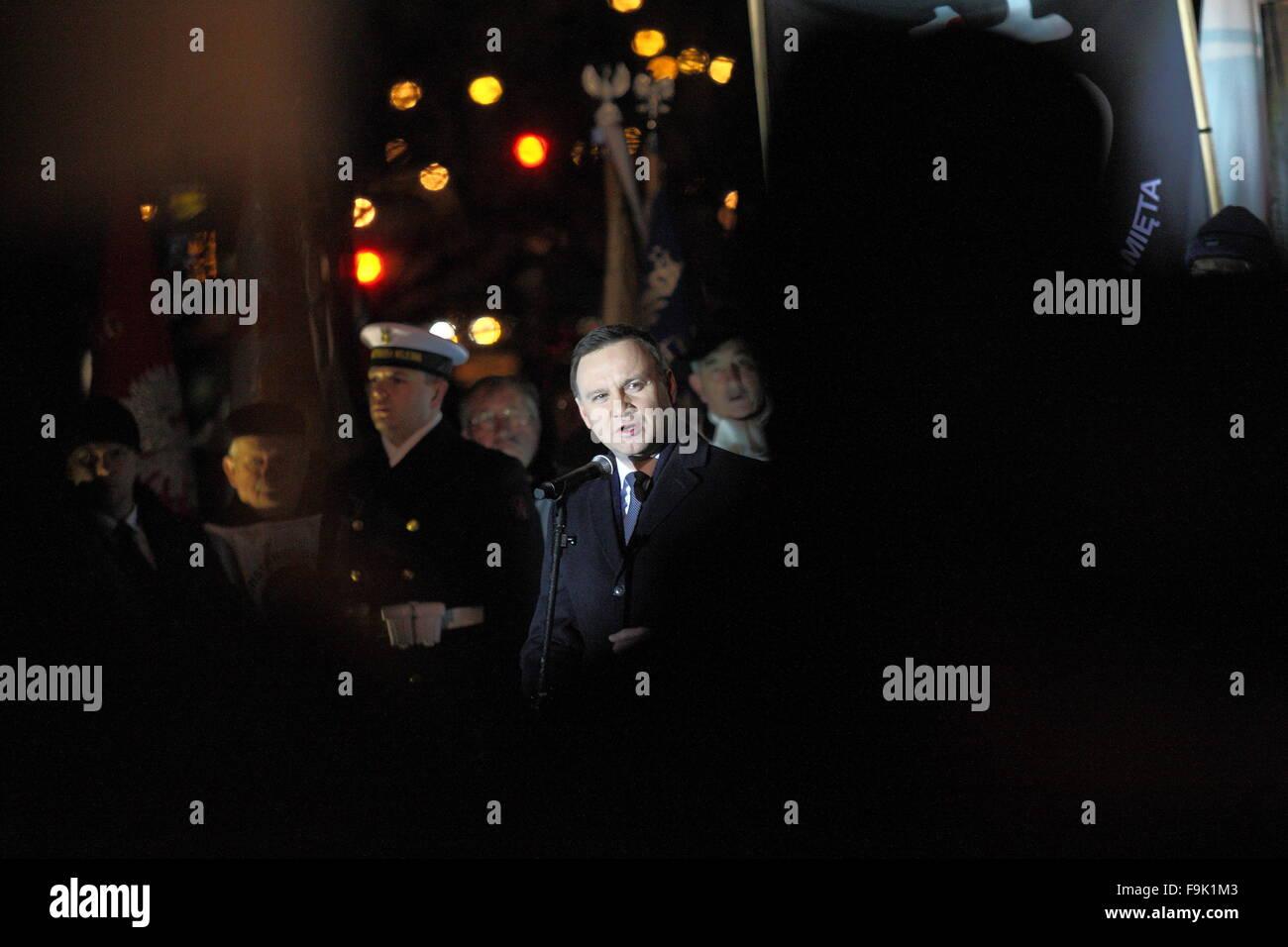Gdynia, Pologne 17th, 2015 Décembre Président pof Pologne Andrzej Duda prend part à la 45e anniversaire de Polish Banque D'Images